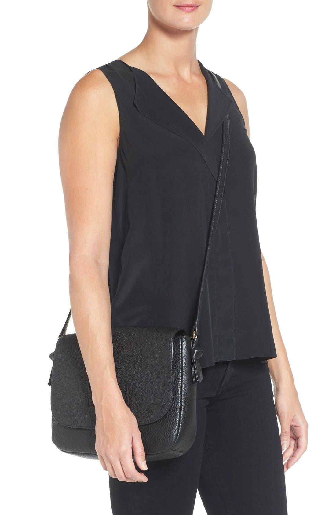 'Harper' Leather Crossbody Bag,                             Alternate thumbnail 4, color,                             012