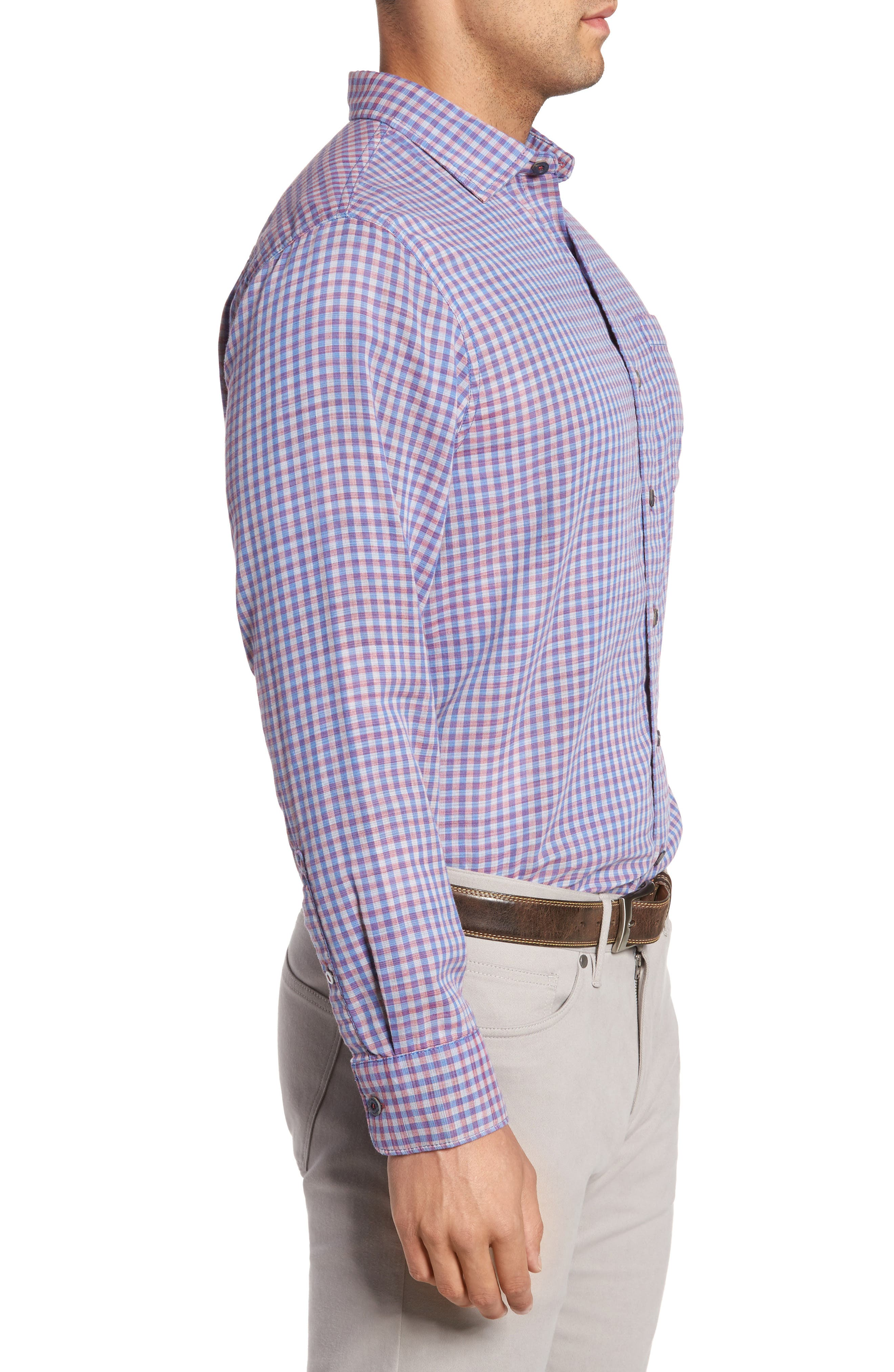 Dual Lux Gingham Sport Shirt,                             Alternate thumbnail 3, color,