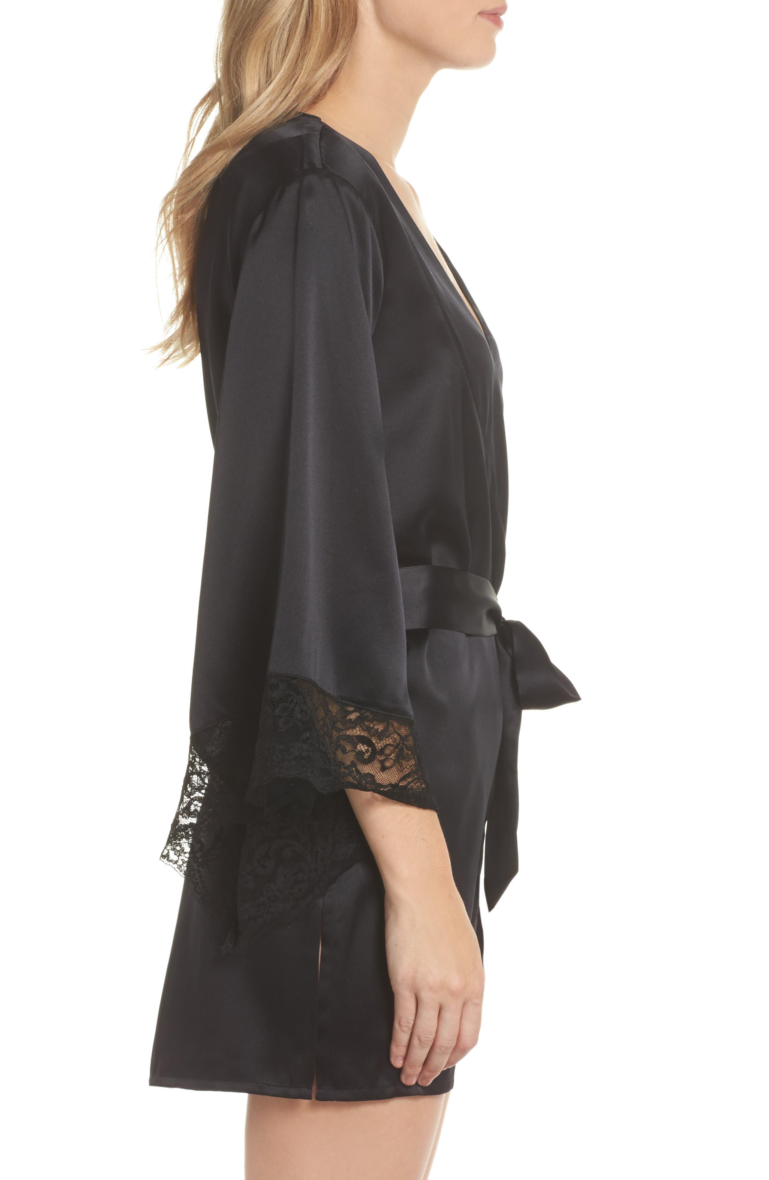 Yukata Lace & Silk Robe,                             Alternate thumbnail 3, color,                             BLACK