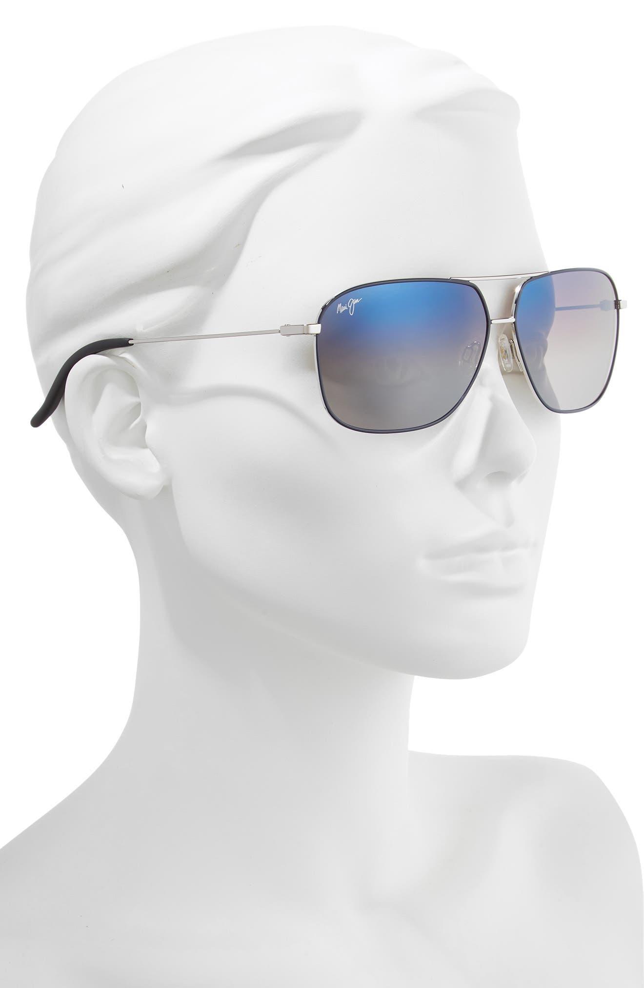 Kami 62mm PolarizedPlus2<sup>®</sup> Aviator Sunglasses,                             Alternate thumbnail 2, color,                             SILVER NAVY BLUE/DUAL MIRR
