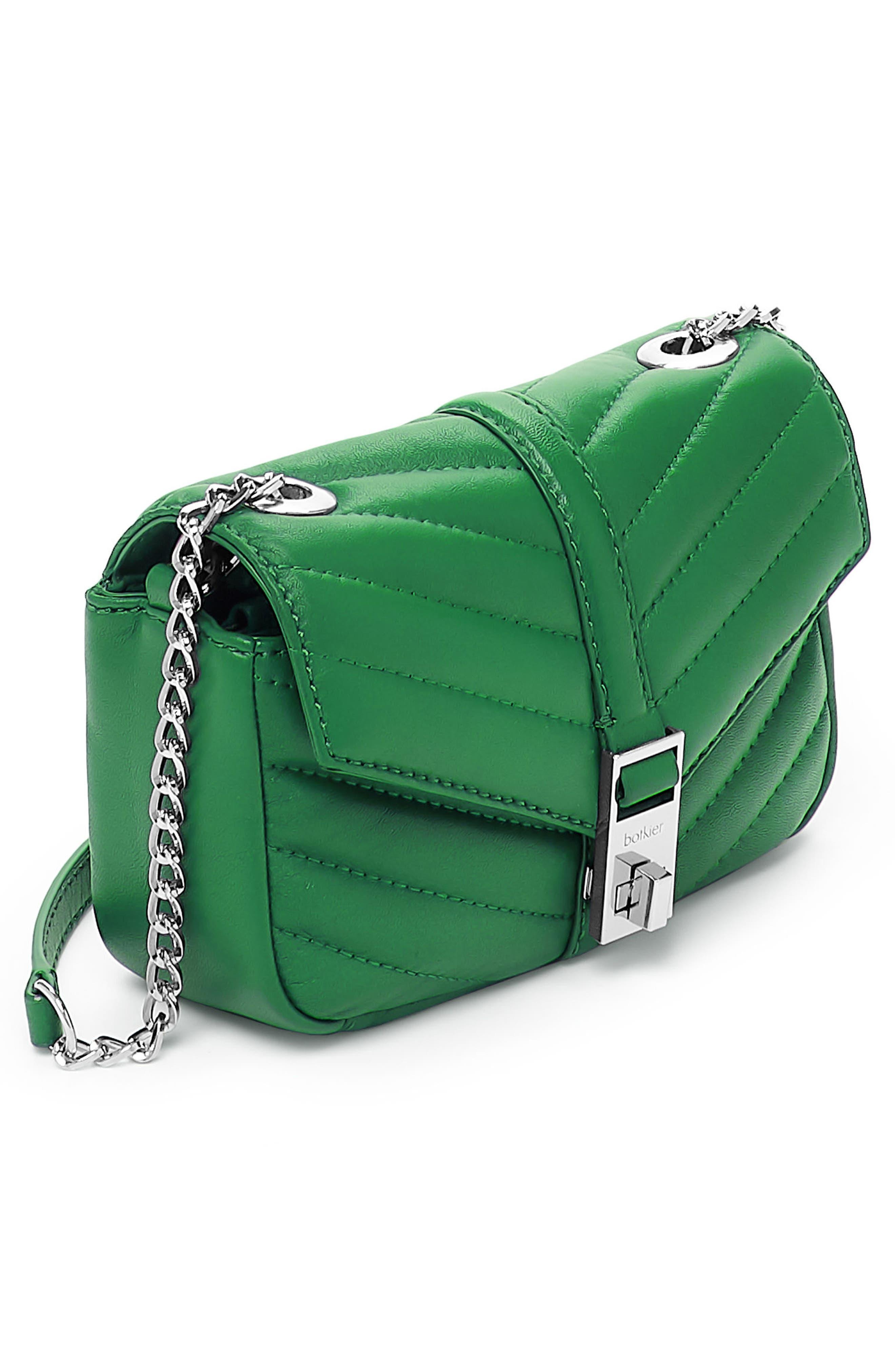 Dakota Quilted Leather Crossbody Bag,                             Alternate thumbnail 3, color,                             GREEN