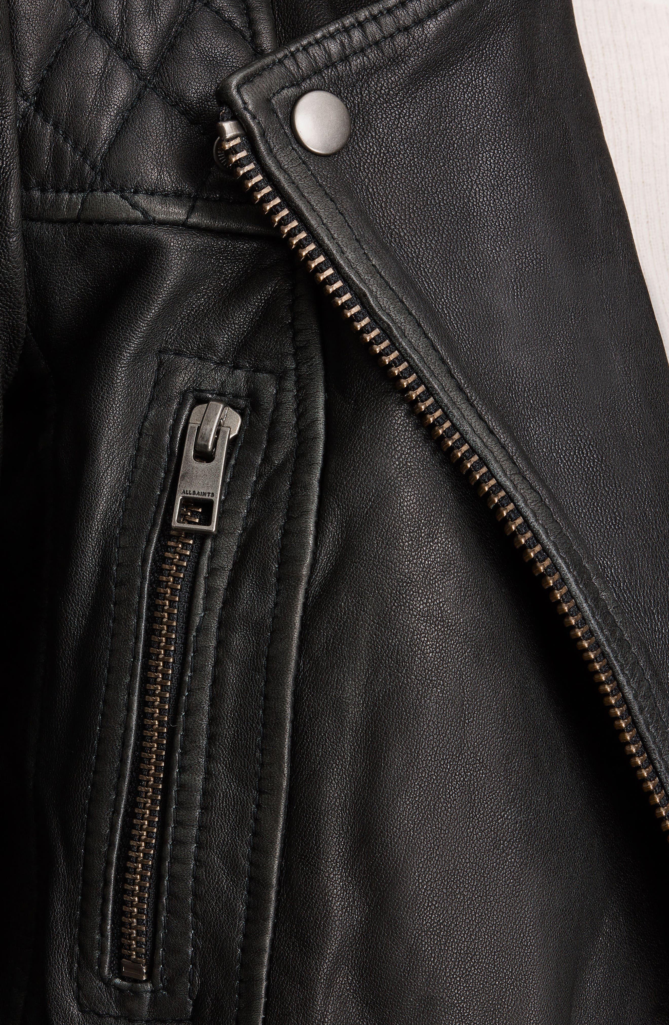 Cargo Leather Biker Jacket,                             Alternate thumbnail 3, color,                             006