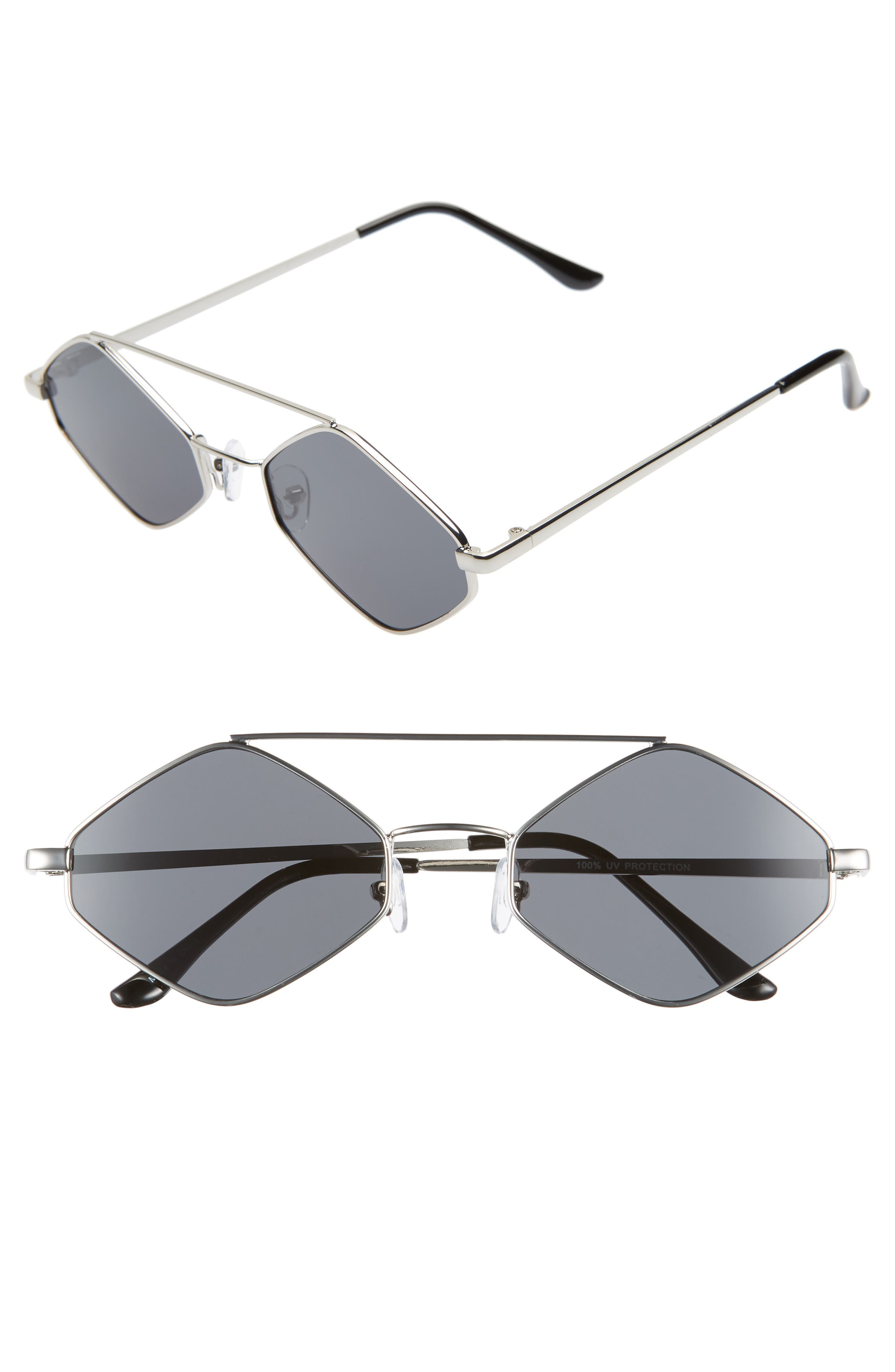 55mm Brow Bar Geometric Sunglasses,                         Main,                         color, SILVER/ BLACK