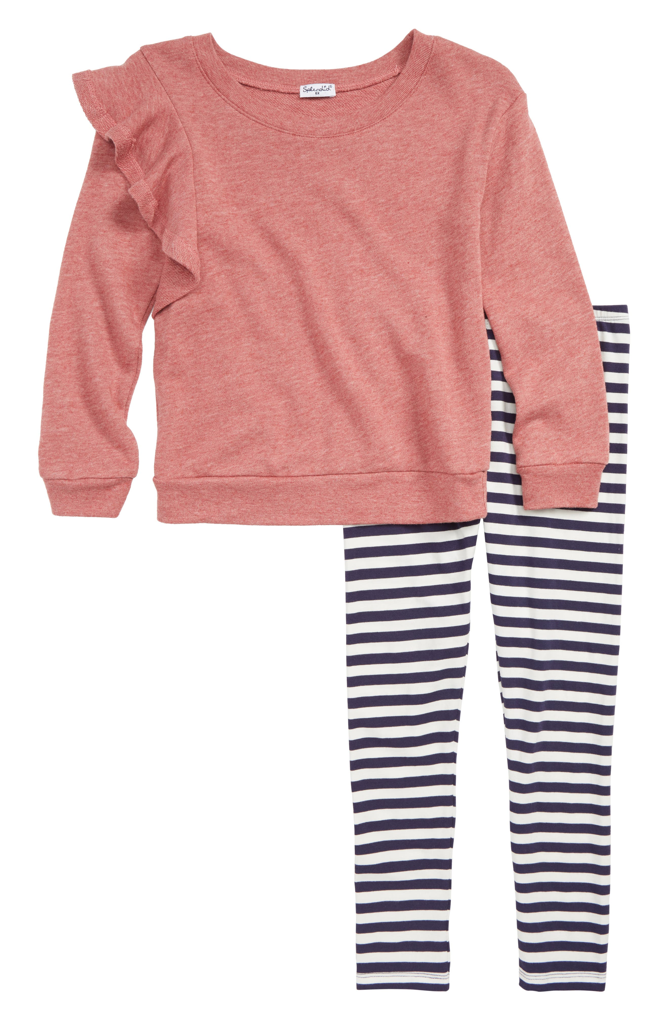 Ruffle Sweatshirt & Leggings Set,                             Main thumbnail 1, color,                             WINTER ROSE