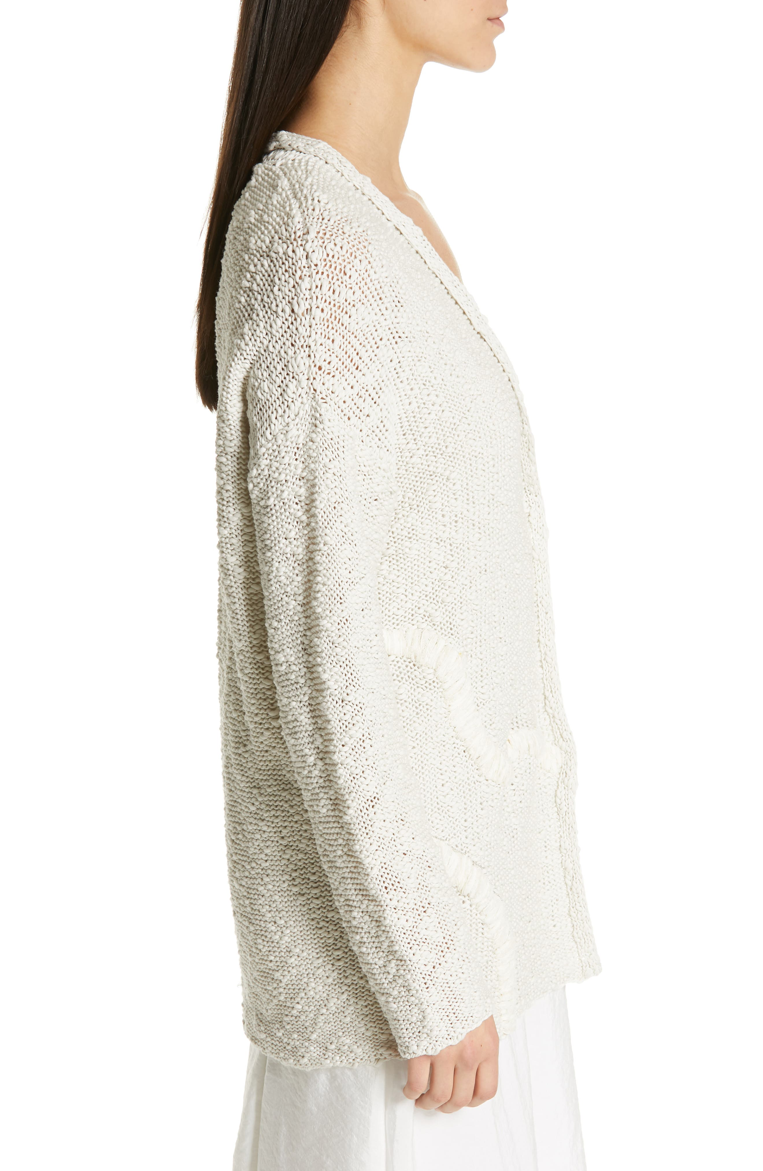 Embroidered Long Cardigan,                             Alternate thumbnail 3, color,                             BEIGE