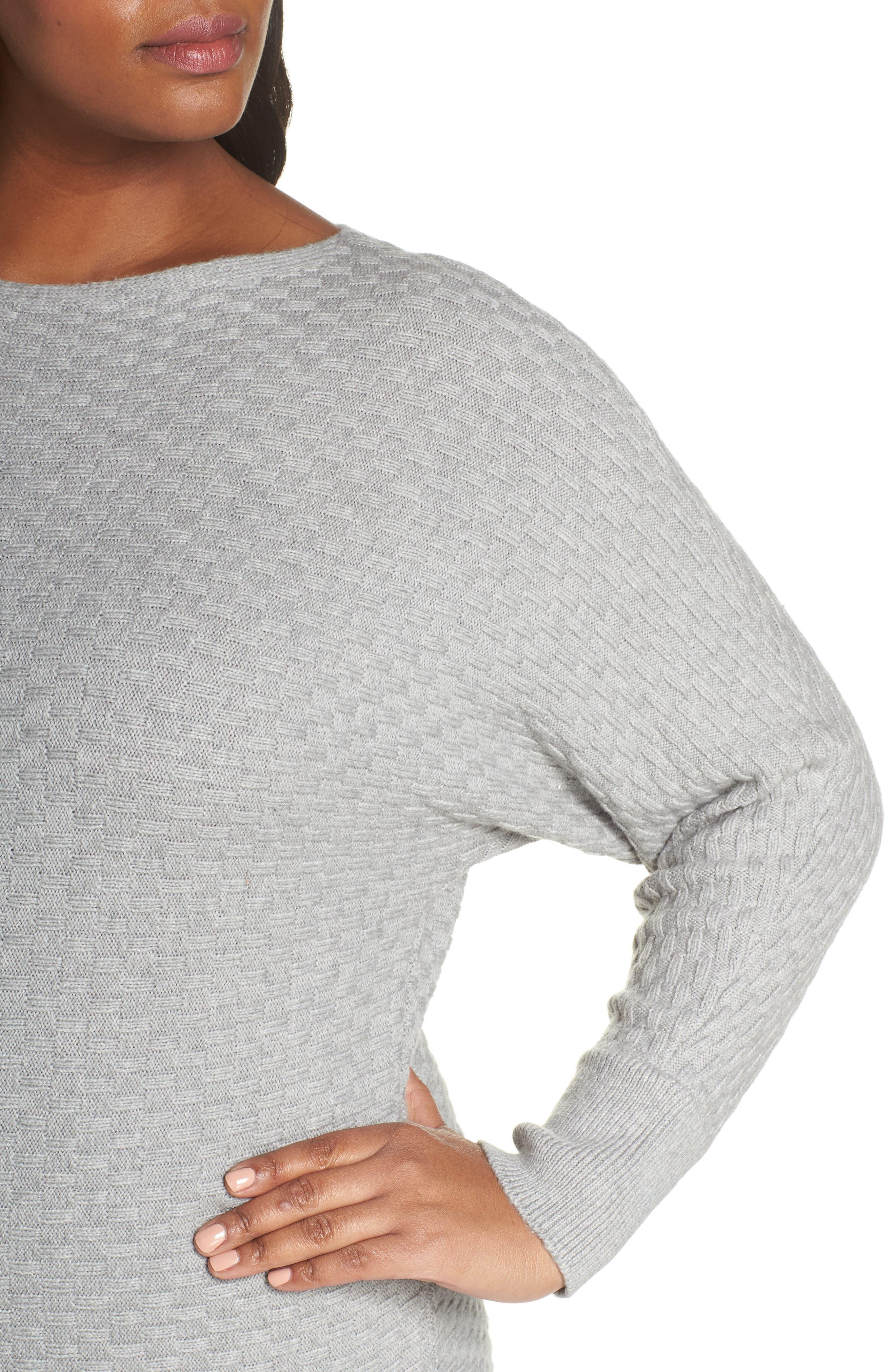 Boatneck Sweater,                             Alternate thumbnail 4, color,                             LIGHT HEATHER GREY