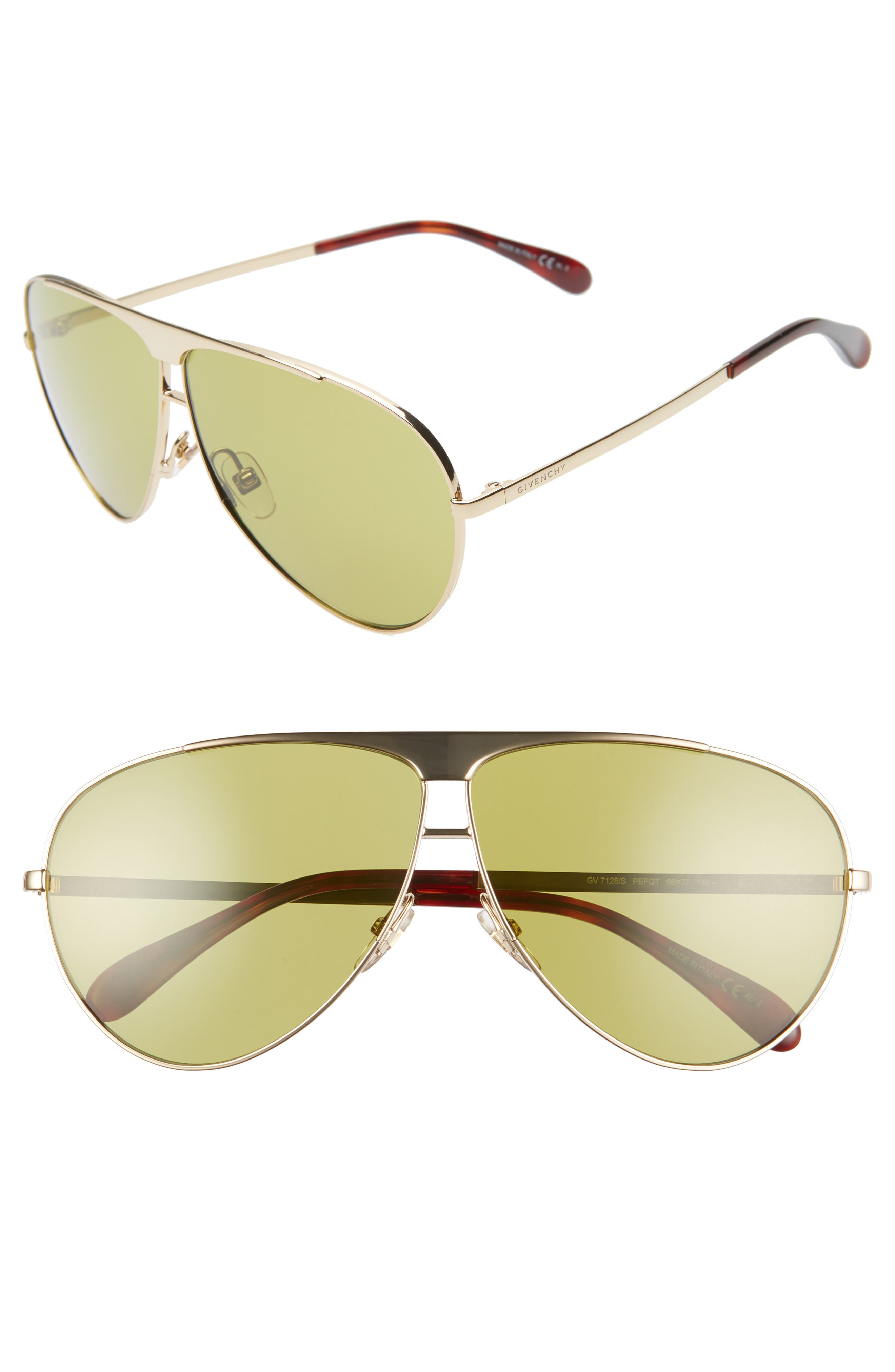Givenchy 6m Aviator Sunglasses - Gold/ Green