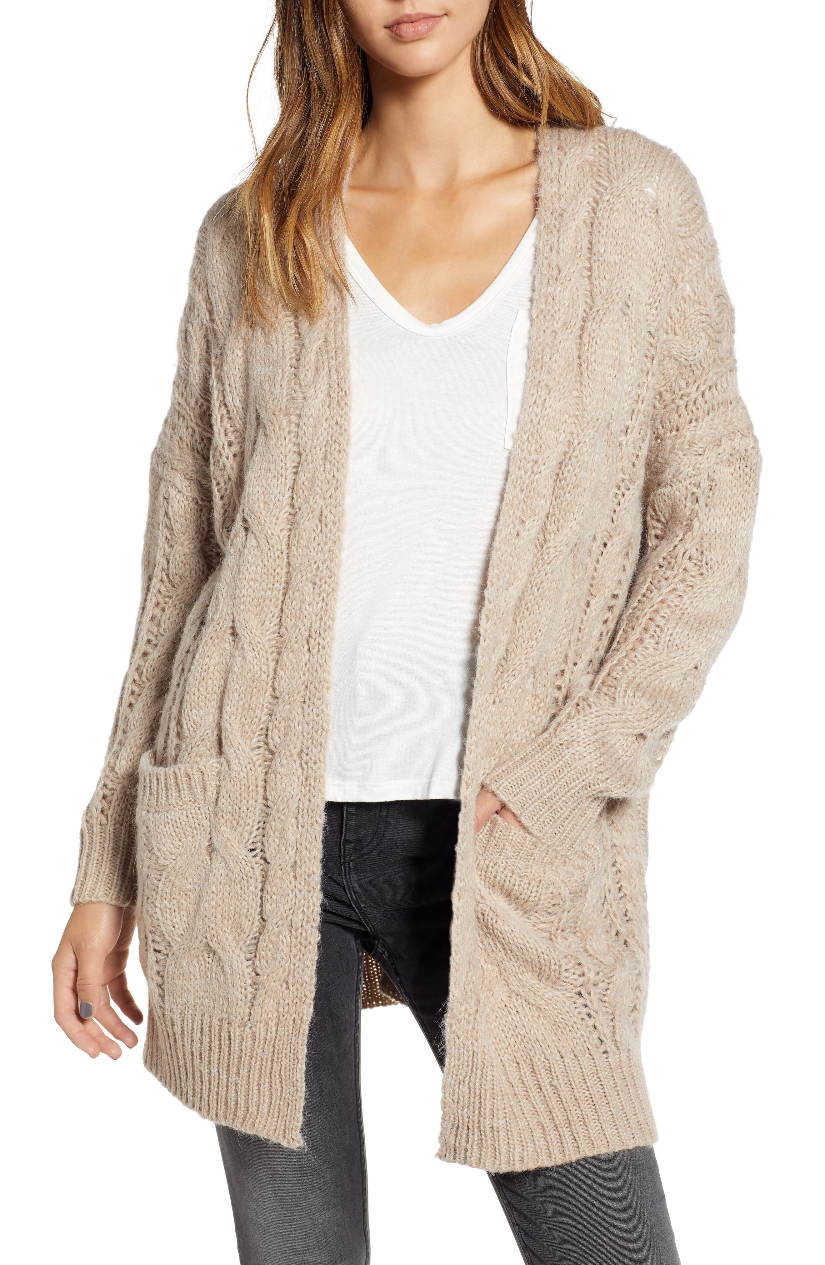 Chunky Cable Knit Cardigan,                             Main thumbnail 1, color,                             TAUPE
