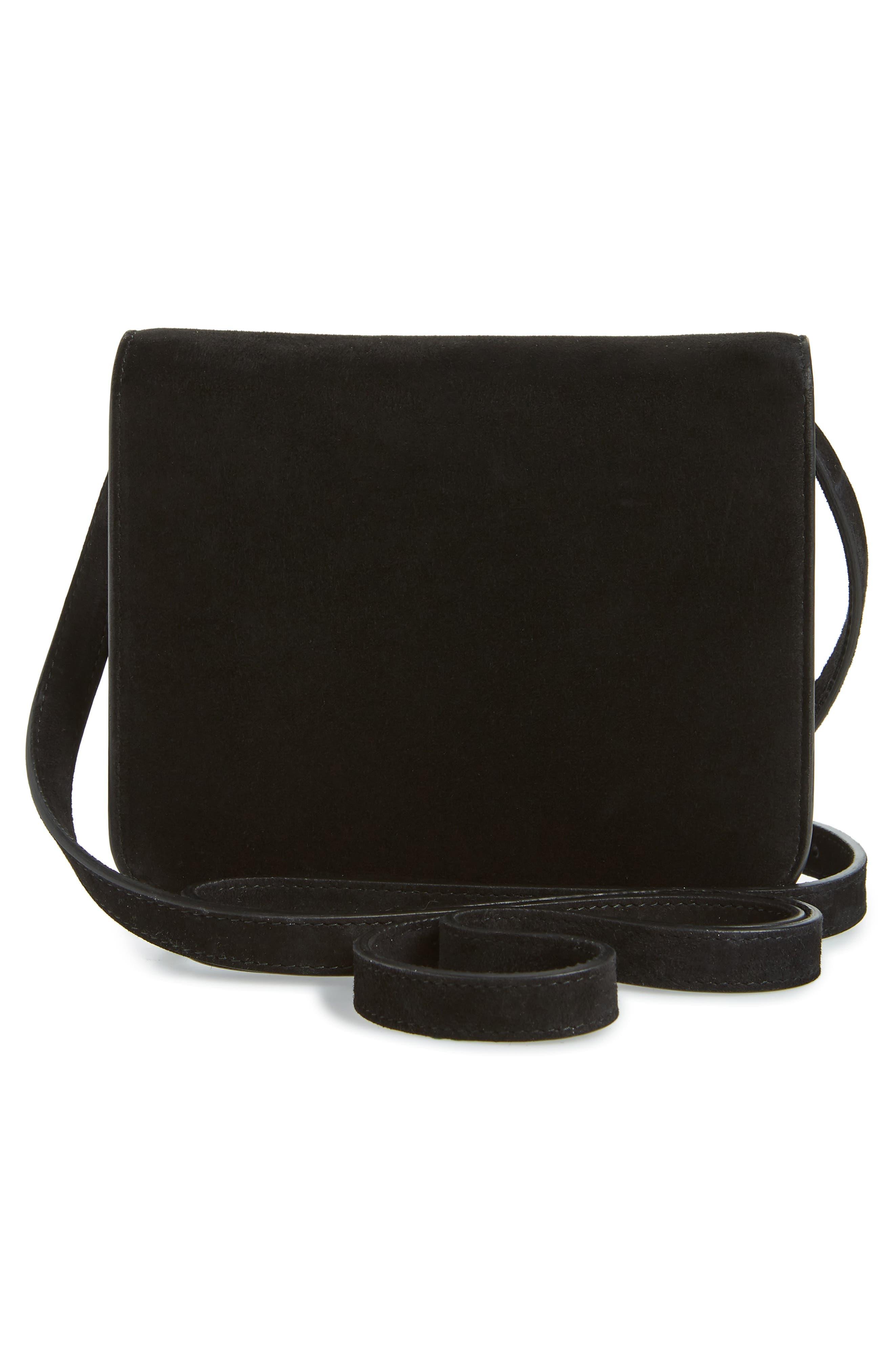 VICTORIA BECKHAM,                             Eva Calfskin Suede Shoulder Bag,                             Alternate thumbnail 3, color,                             BLACK