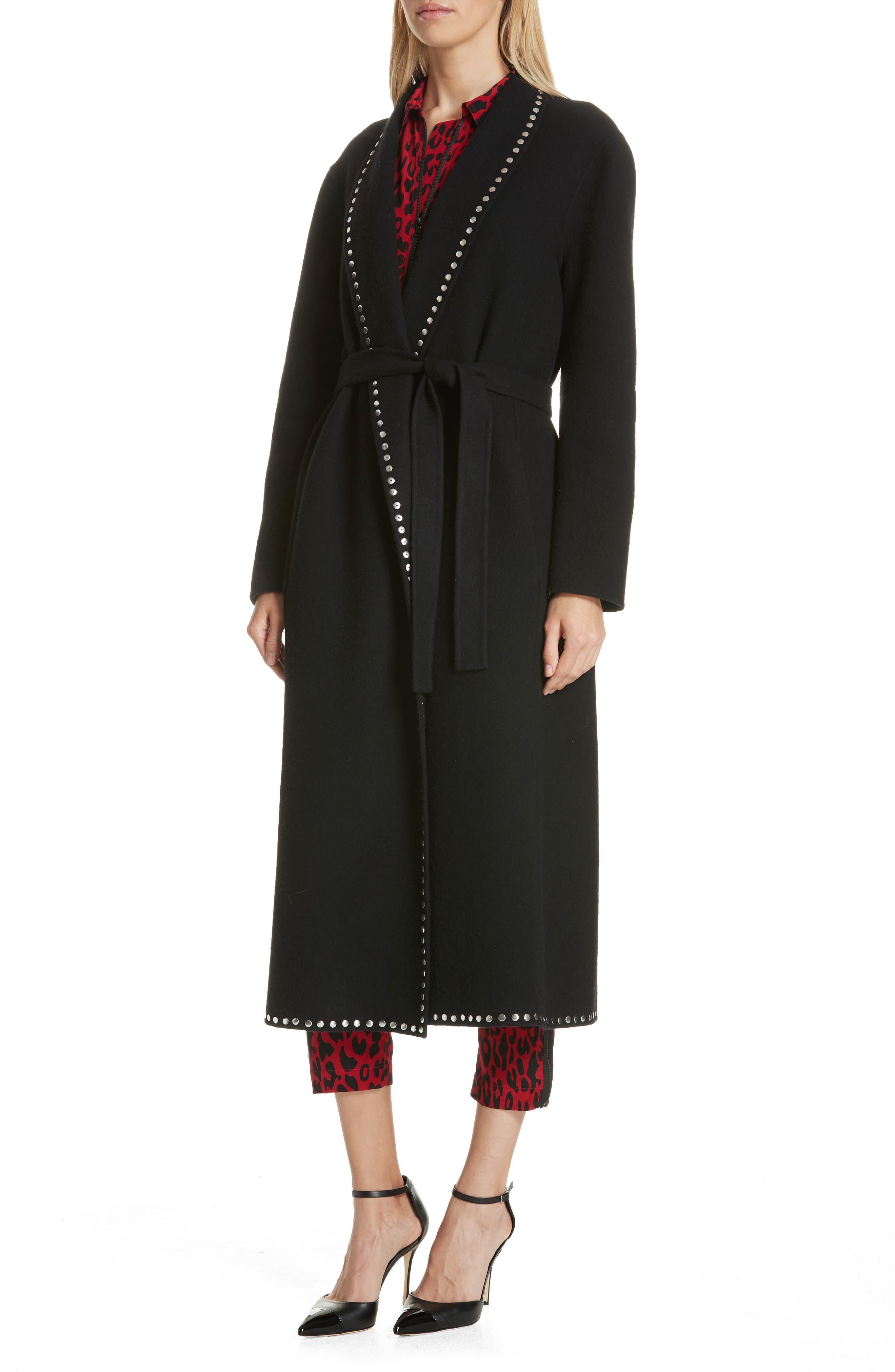 Studded Wool Blend Coat,                             Alternate thumbnail 4, color,                             BLACK