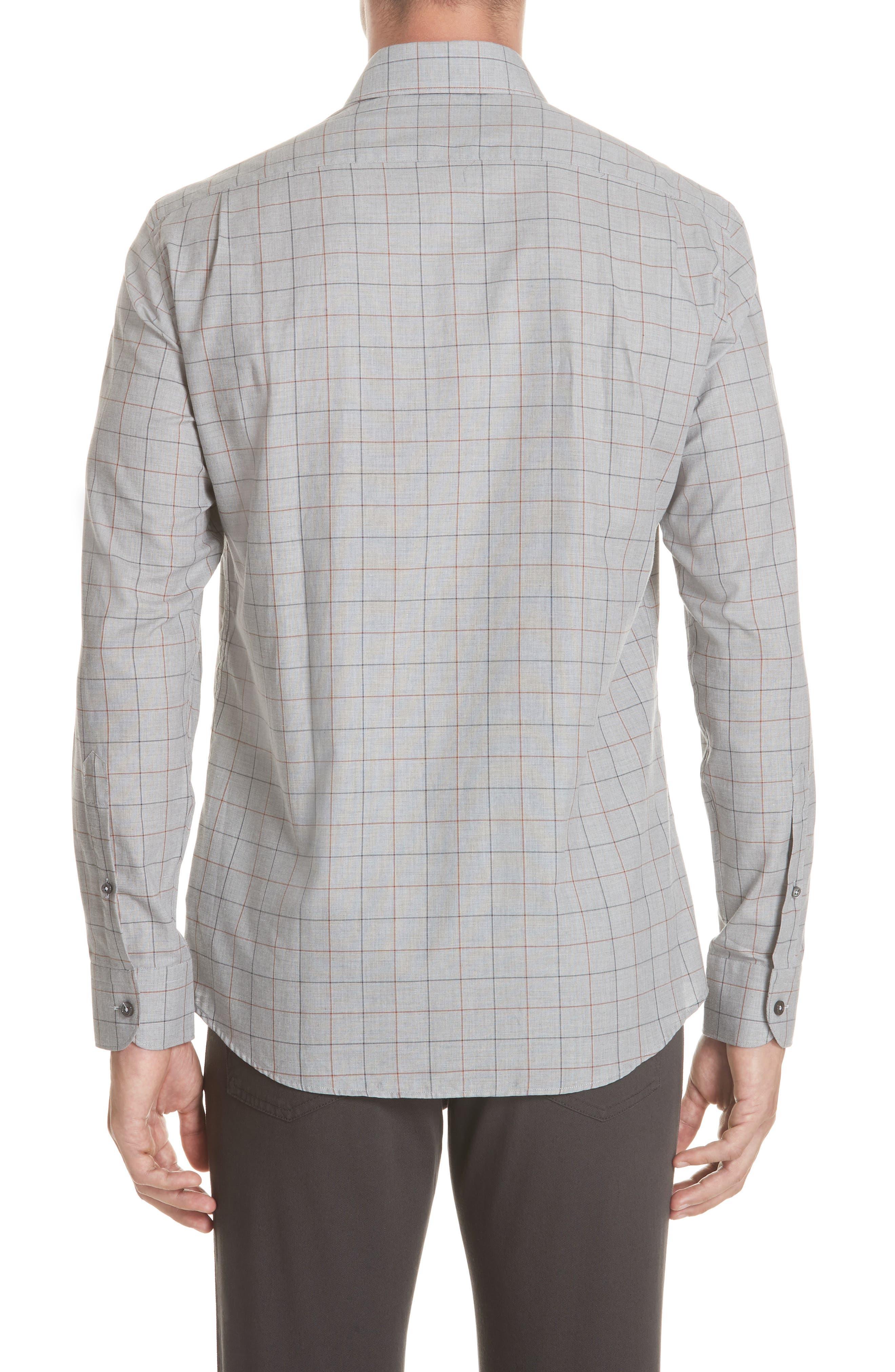 Classic Fit Windowpane Sport Shirt,                             Alternate thumbnail 3, color,                             BROWN