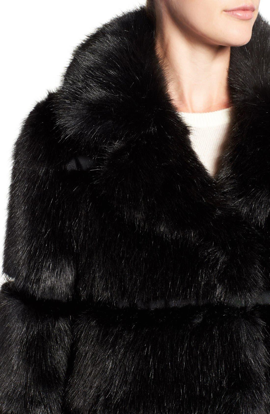 grooved faux fur coat,                             Alternate thumbnail 2, color,                             001
