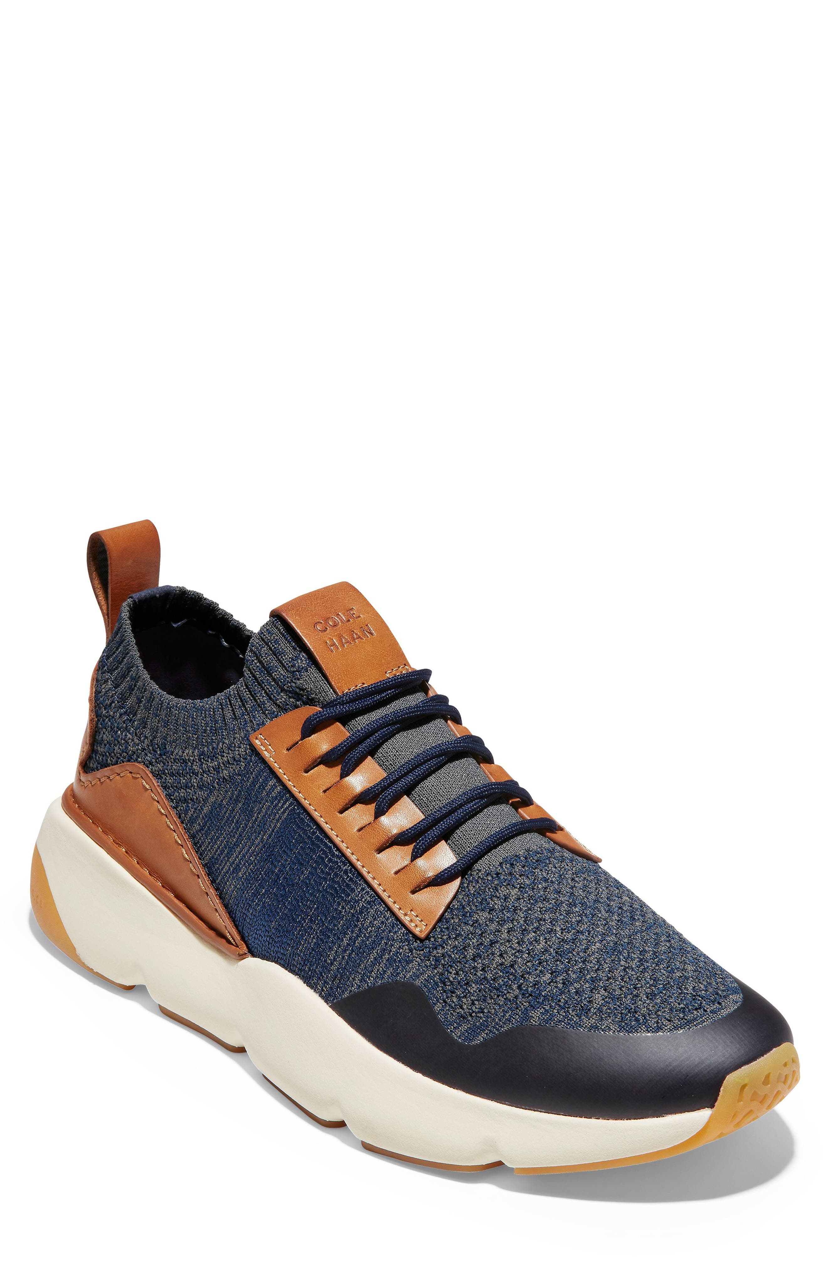 ZeroGrand All-Day Trainer Sneaker,                             Main thumbnail 1, color,                             MARINE BLUE/ TAN KNIT