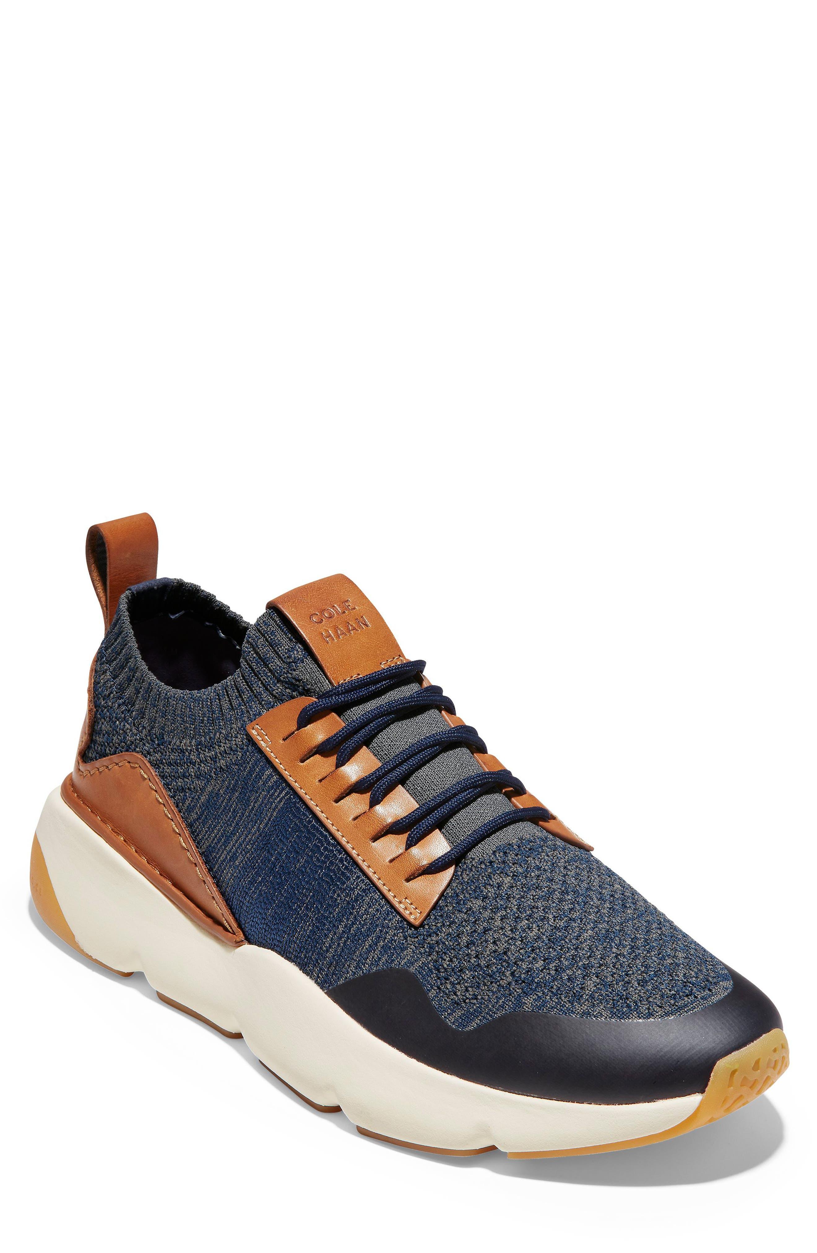 ZeroGrand All-Day Trainer Sneaker, Main, color, MARINE BLUE/ TAN KNIT