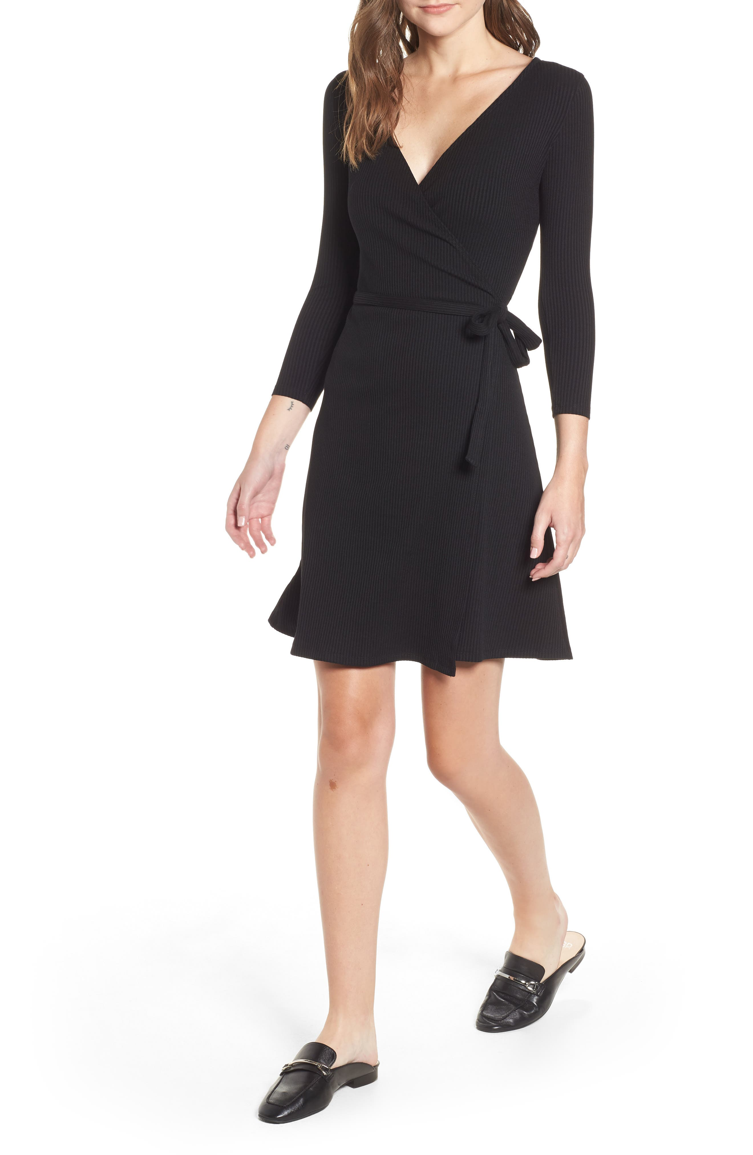AMOUR VERT Theodora Rib Wrap Dress in Black