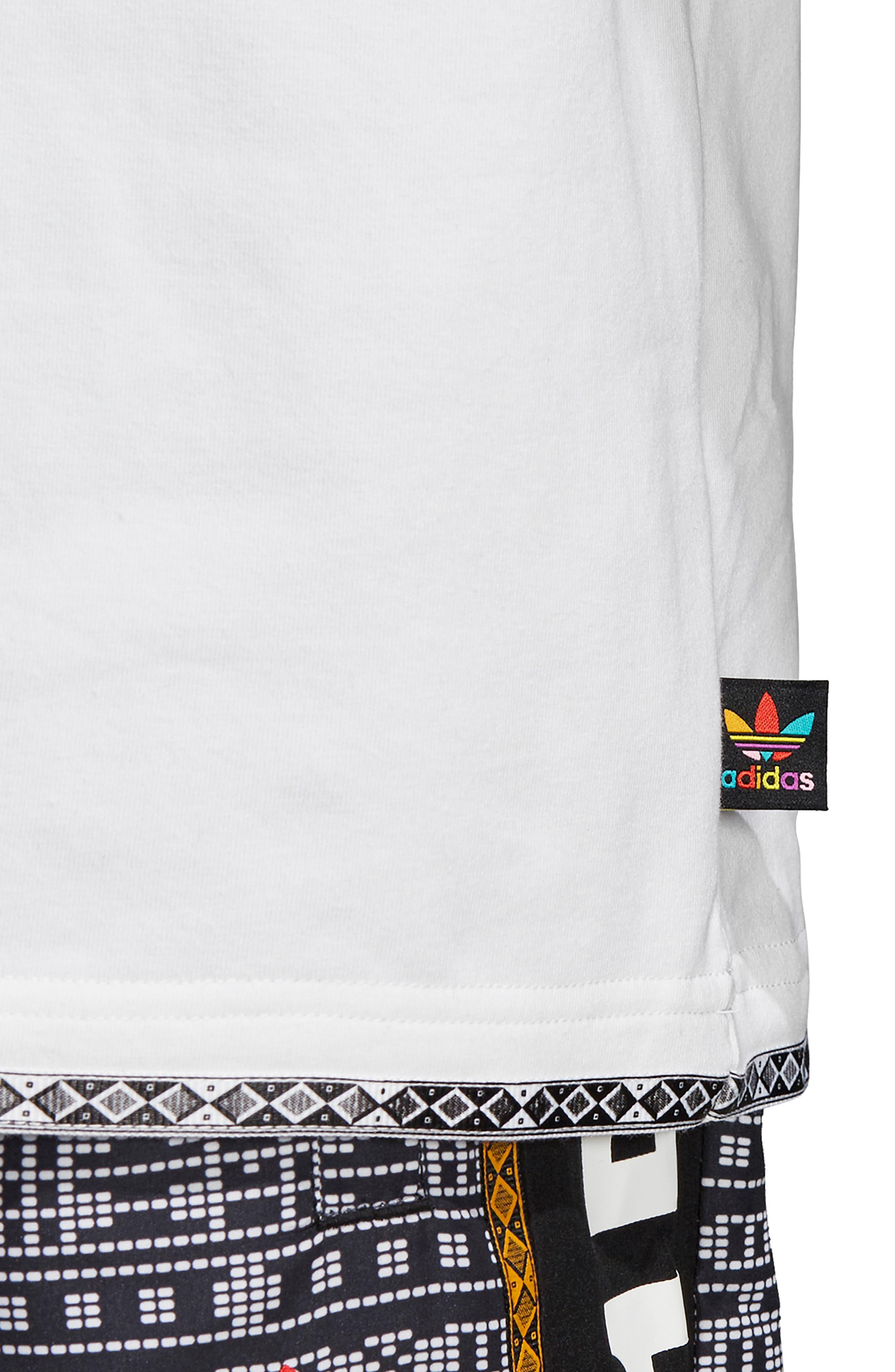 by Pharrell Williams Hu Solar Trefoil T-Shirt,                             Alternate thumbnail 9, color,                             100