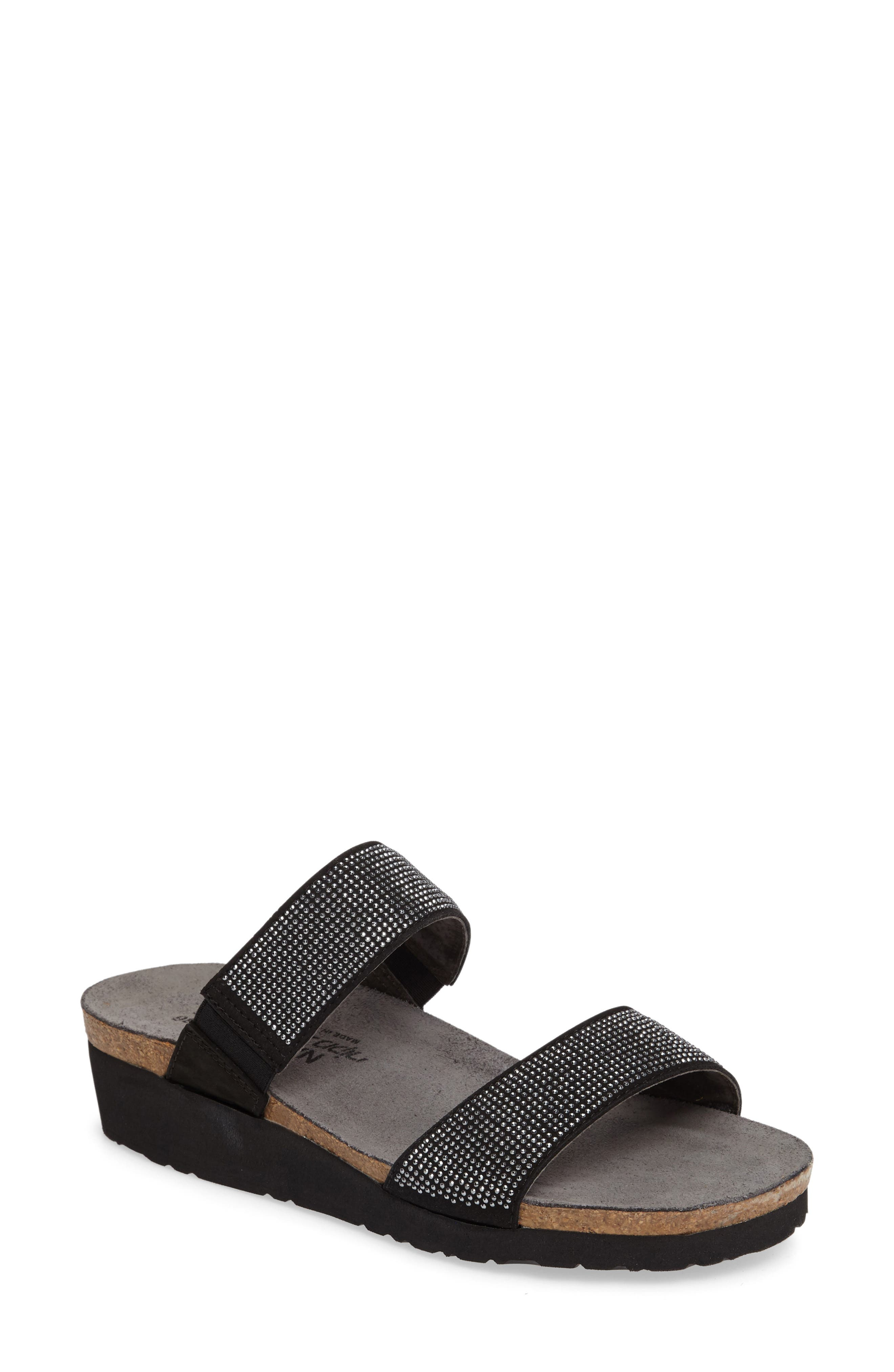 'Bianca' Slide Sandal,                             Main thumbnail 1, color,                             BLACK LEATHER