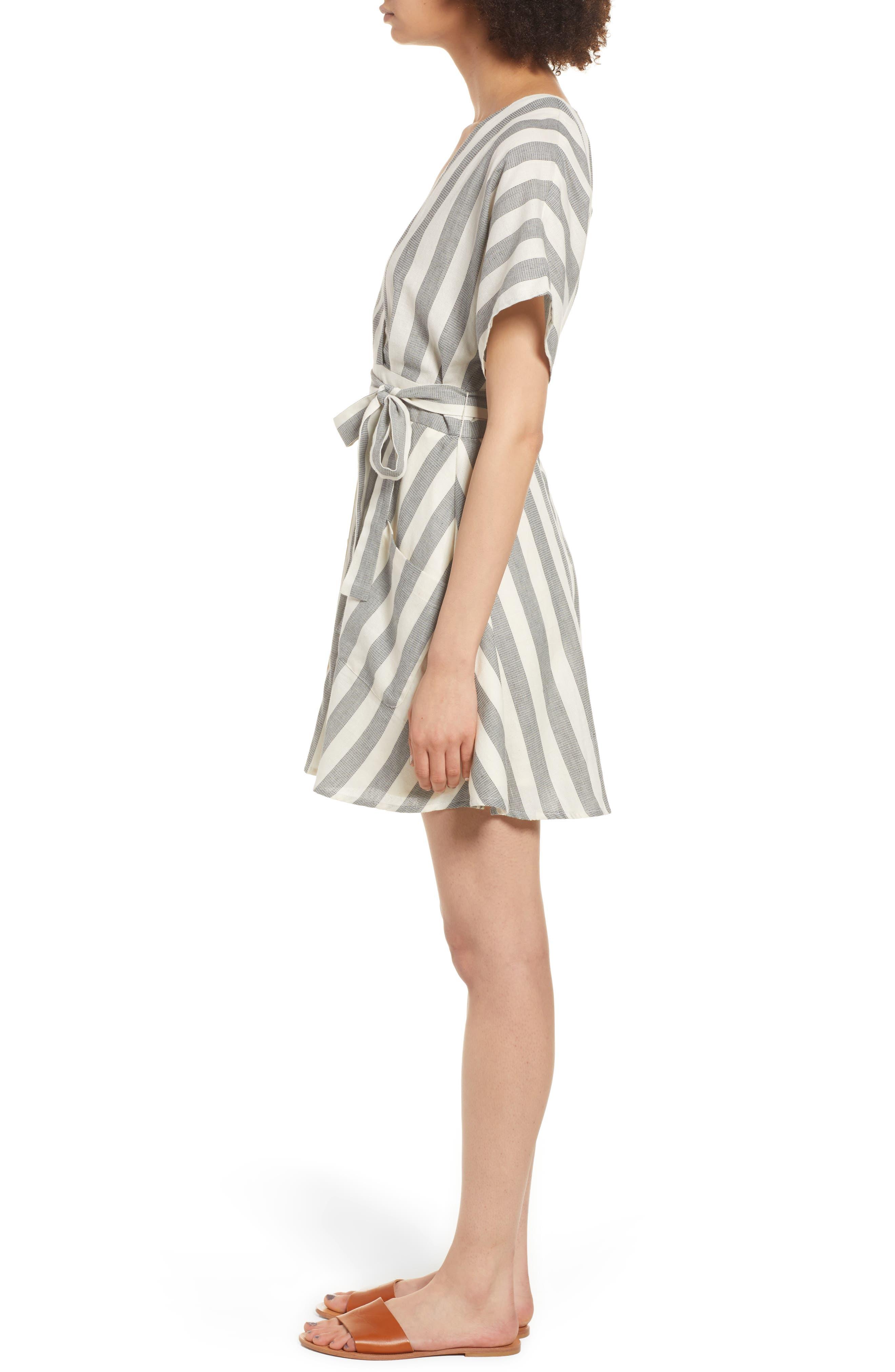 Stripe Cotton Wrap Dress,                             Alternate thumbnail 3, color,                             004