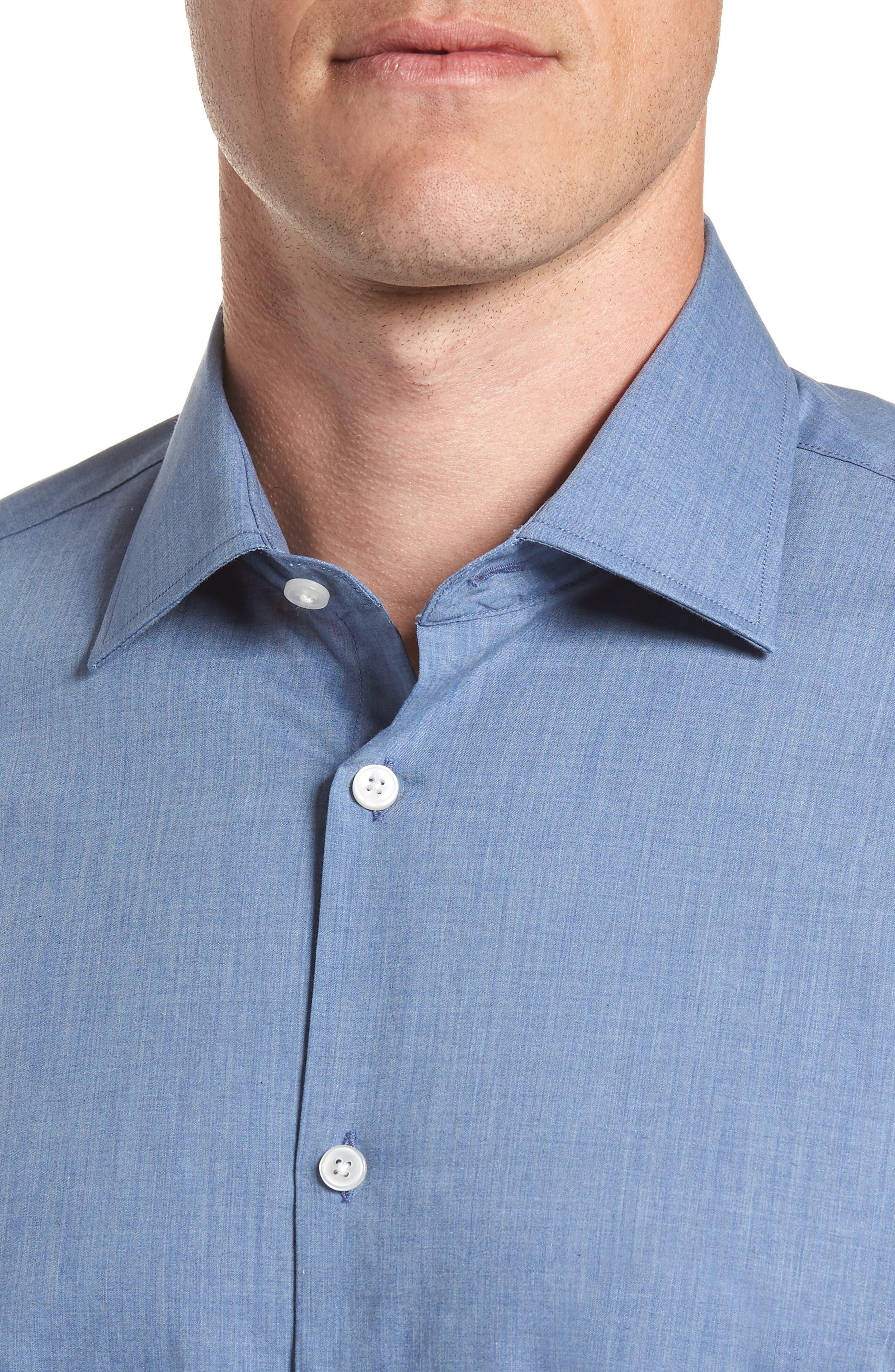 Regular Fit Solid Dress Shirt,                             Alternate thumbnail 2, color,                             BLUE HEATHER