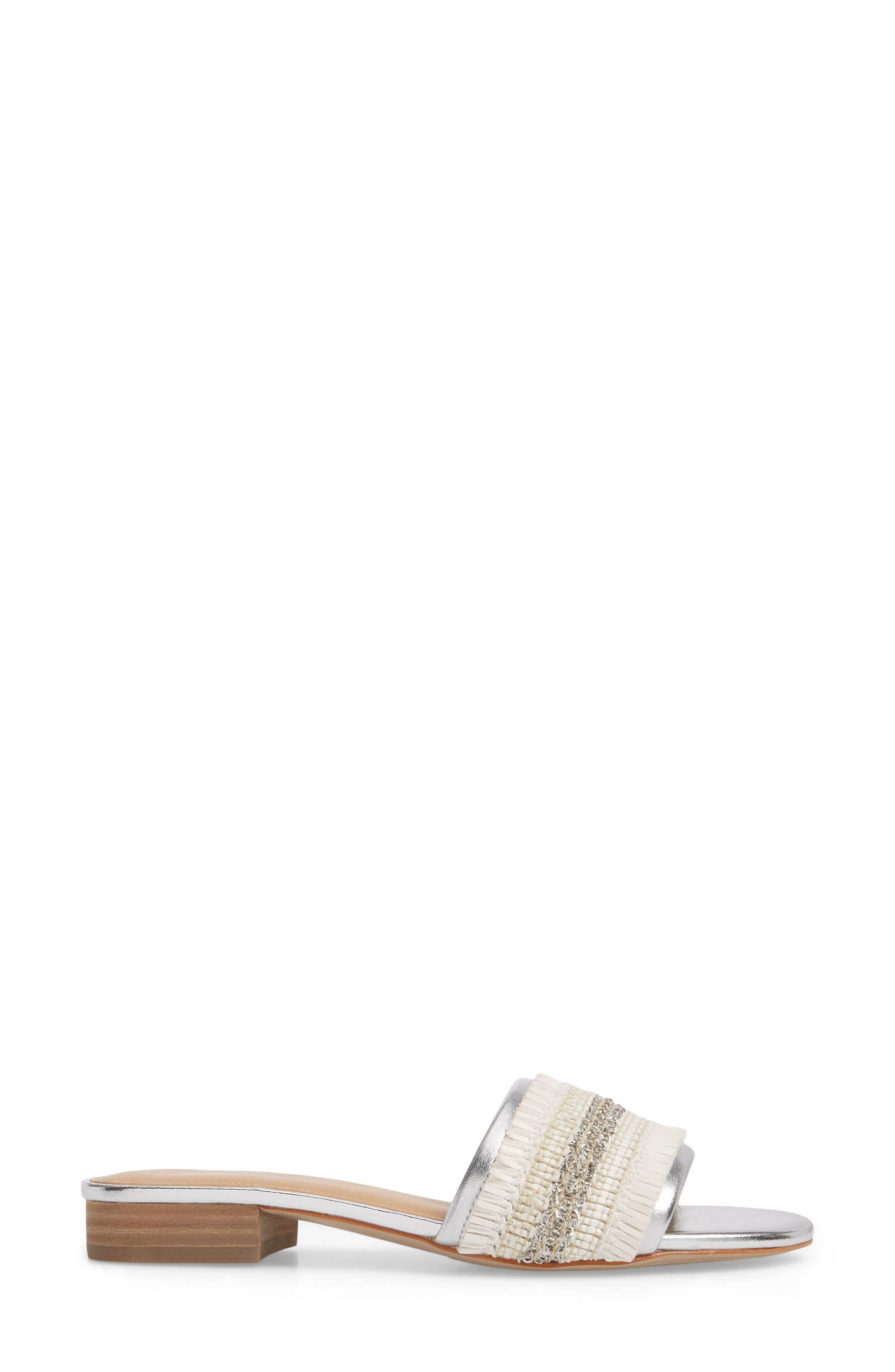 NIC + ZOE Sandy Slide Sandal,                             Alternate thumbnail 3, color,                             SILVER/ WHITE FABRIC