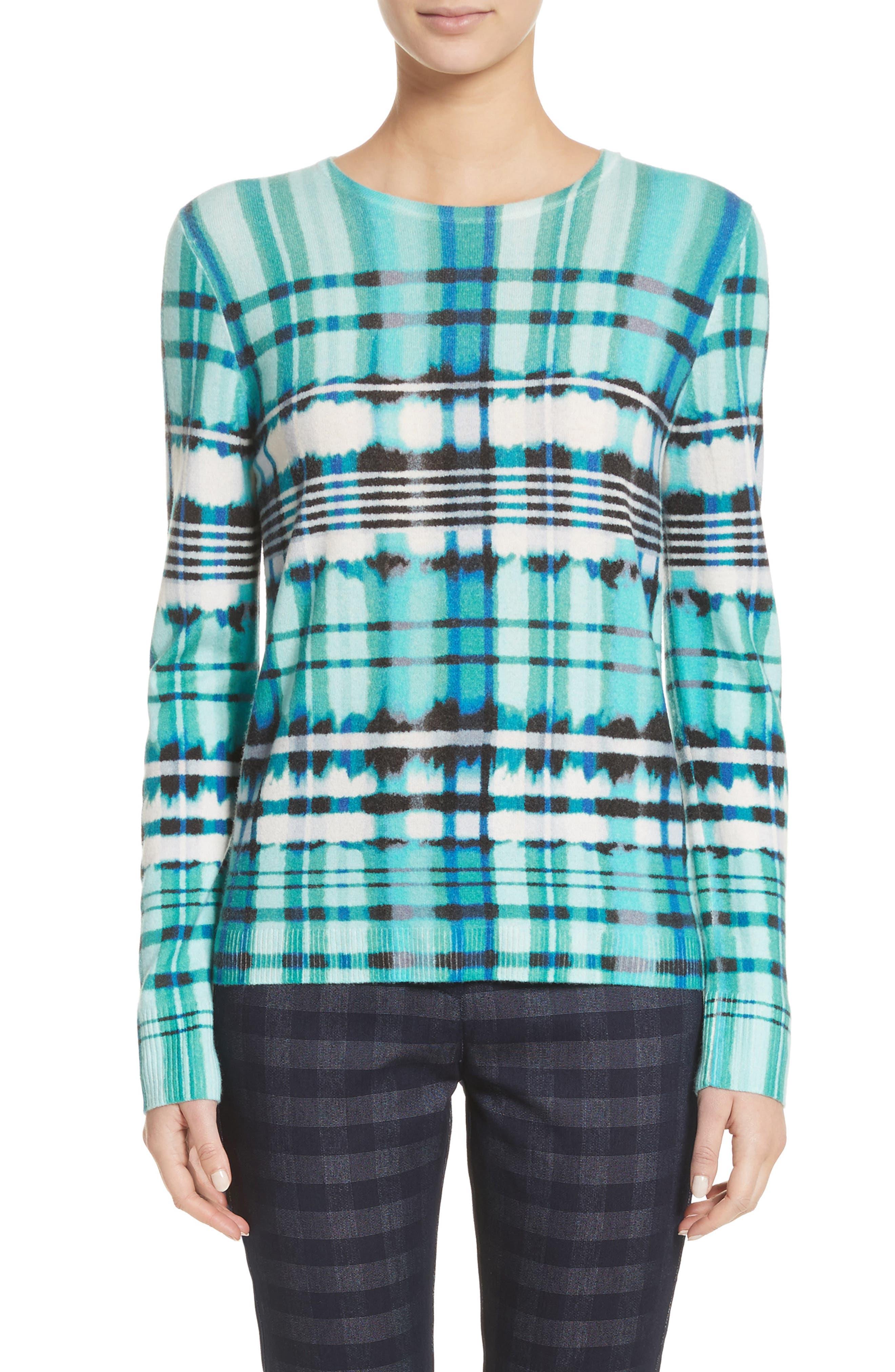Overprint Plaid Cashmere Sweater,                             Main thumbnail 1, color,                             350