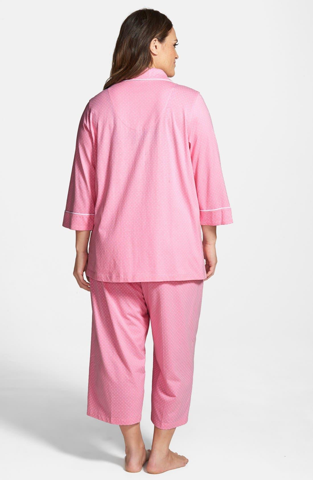 Knit Crop Pajamas,                             Alternate thumbnail 14, color,