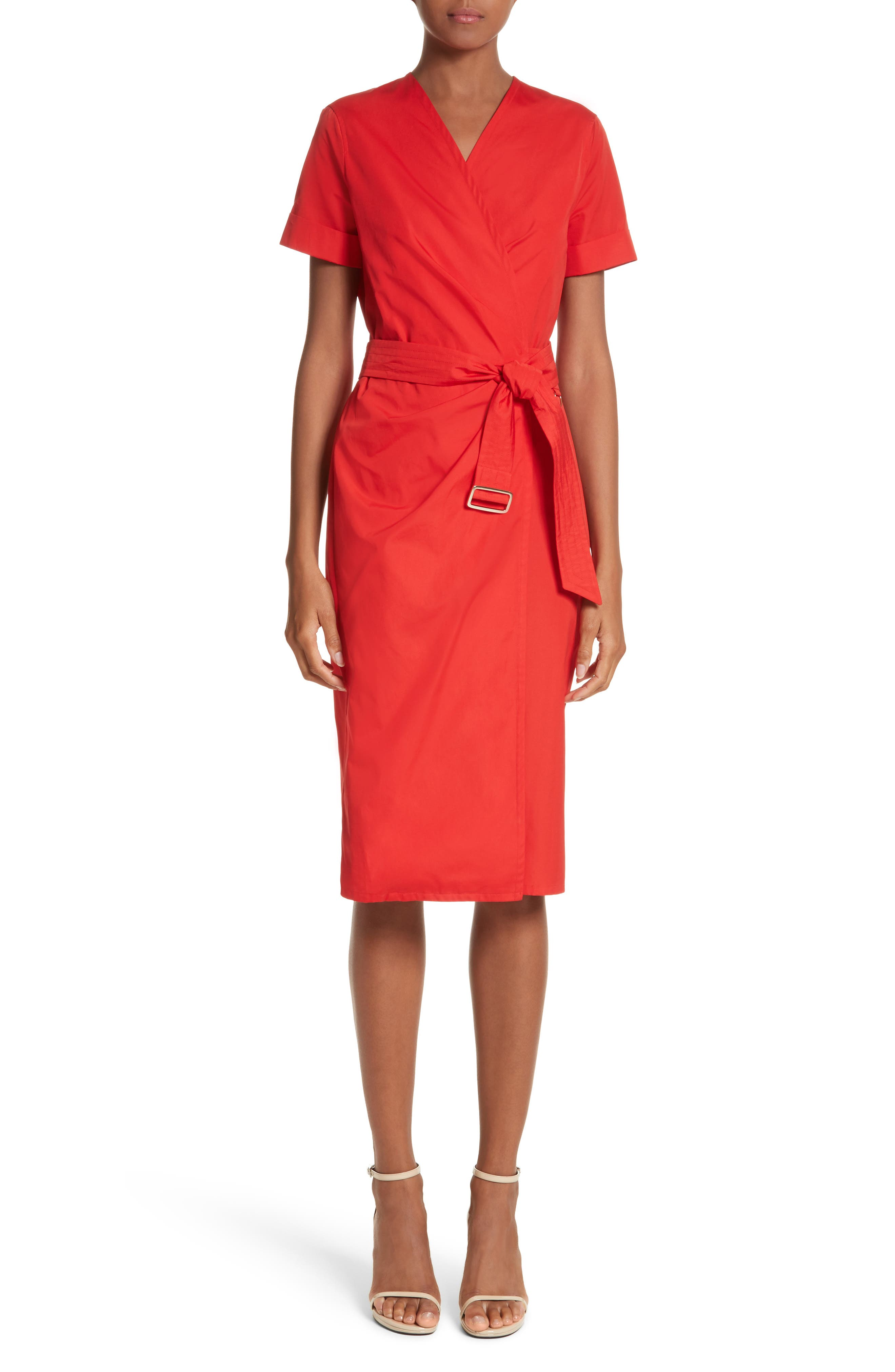 Dalmine Cotton Wrap Dress,                             Main thumbnail 1, color,                             RED