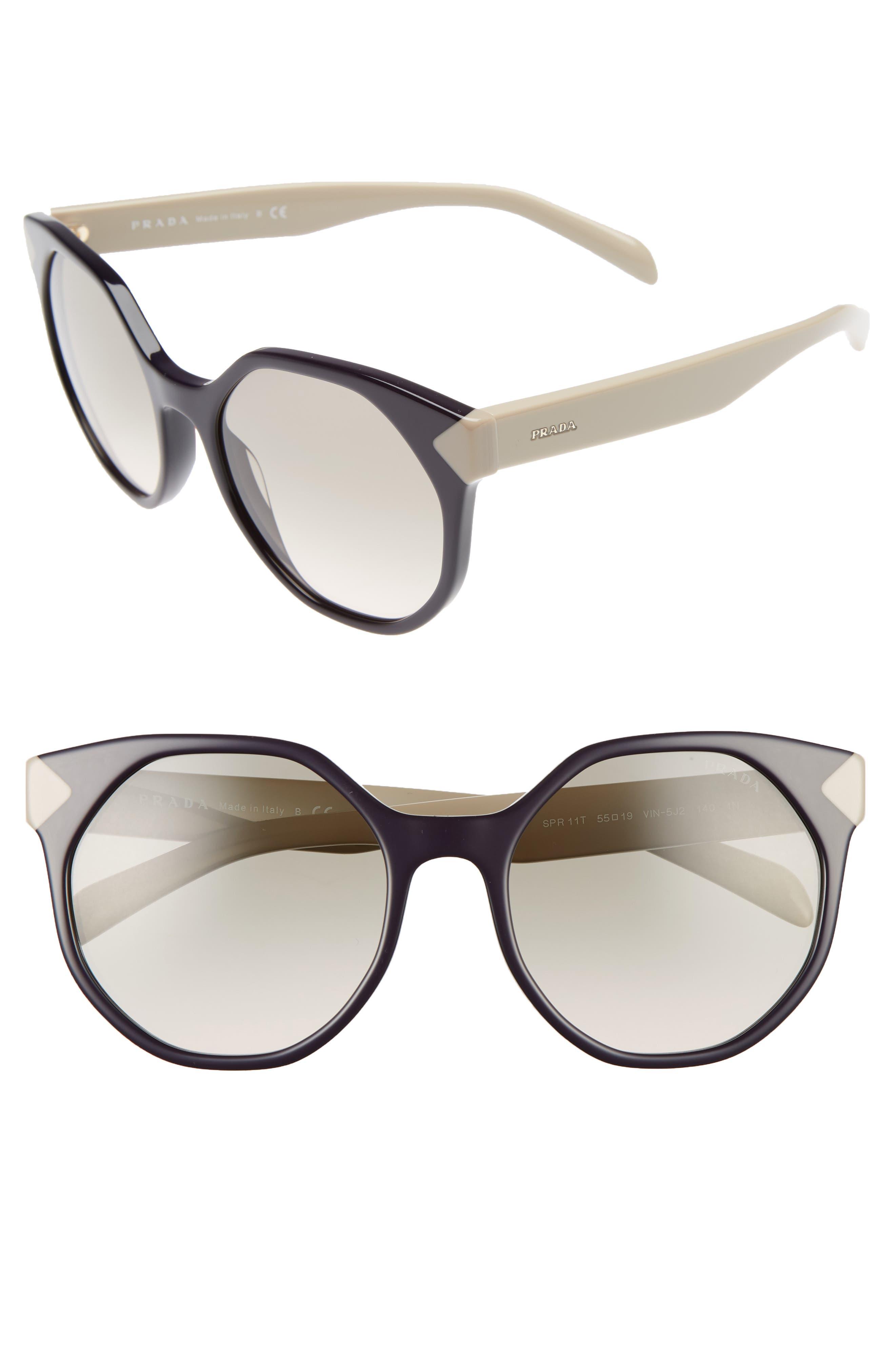55mm Gradient Geometric Sunglasses,                             Main thumbnail 3, color,