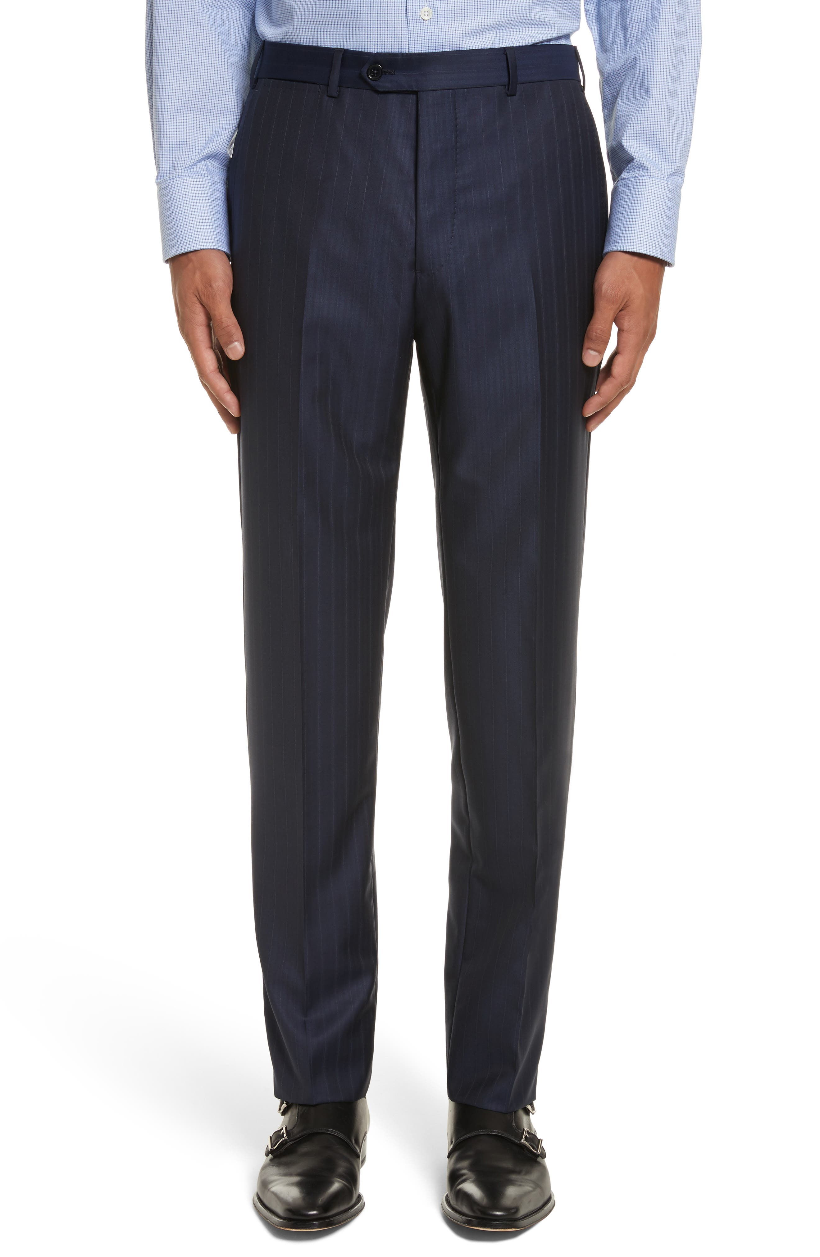 G-Line Trim Fit Stripe Wool Suit,                             Alternate thumbnail 6, color,                             433