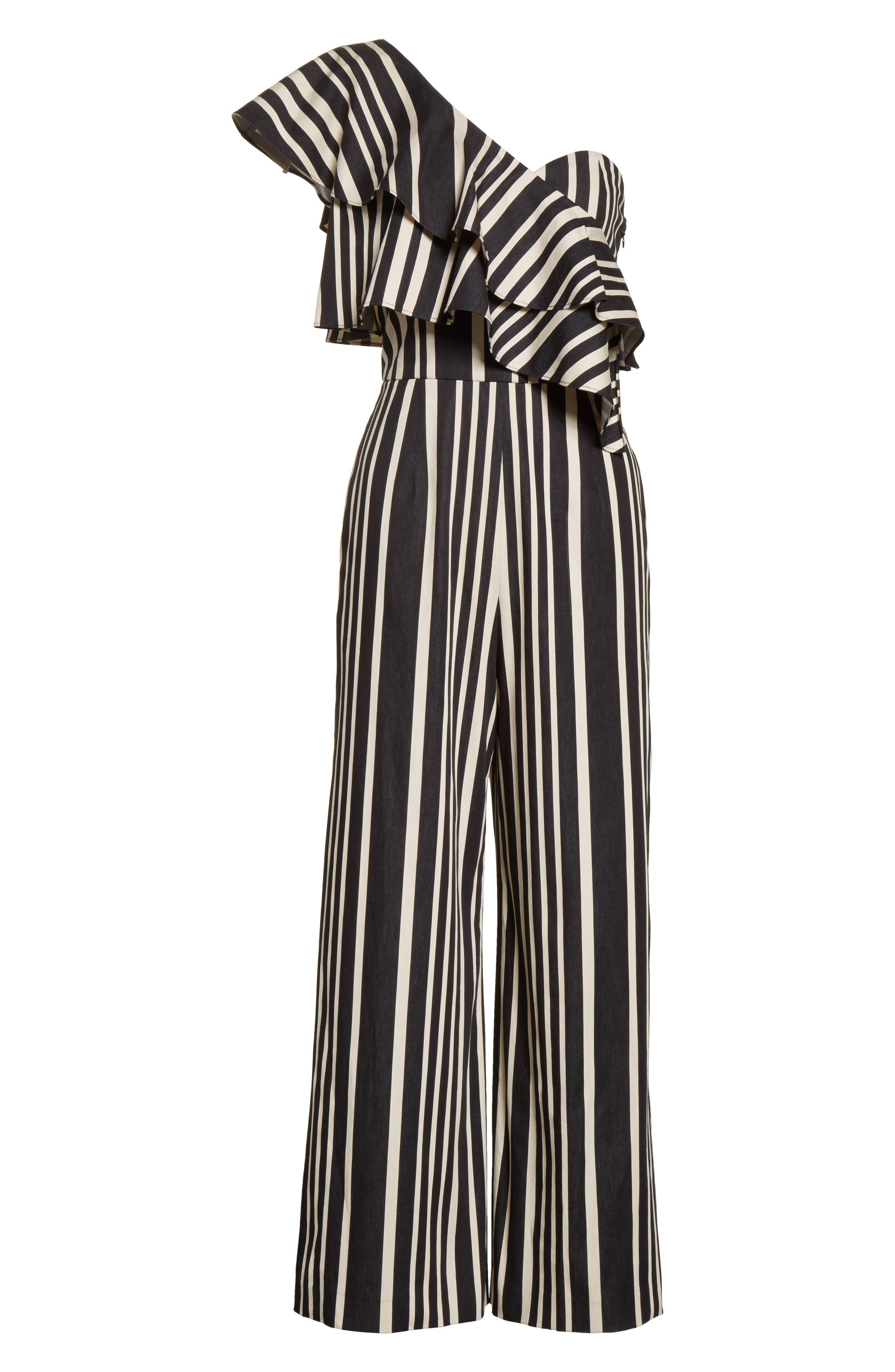 Sabeen Ruffle Stripe Crop Jumpsuit,                             Alternate thumbnail 6, color,                             009