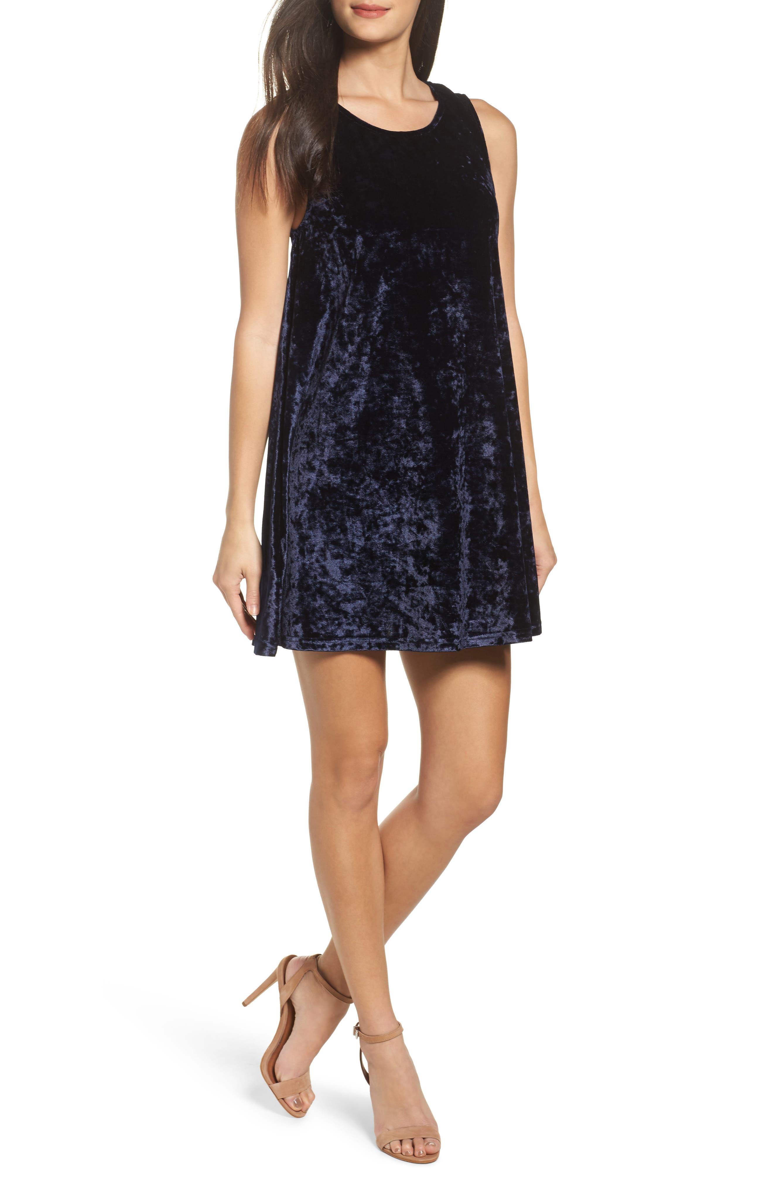 Crushed Velvet Shift Dress,                         Main,                         color, 018