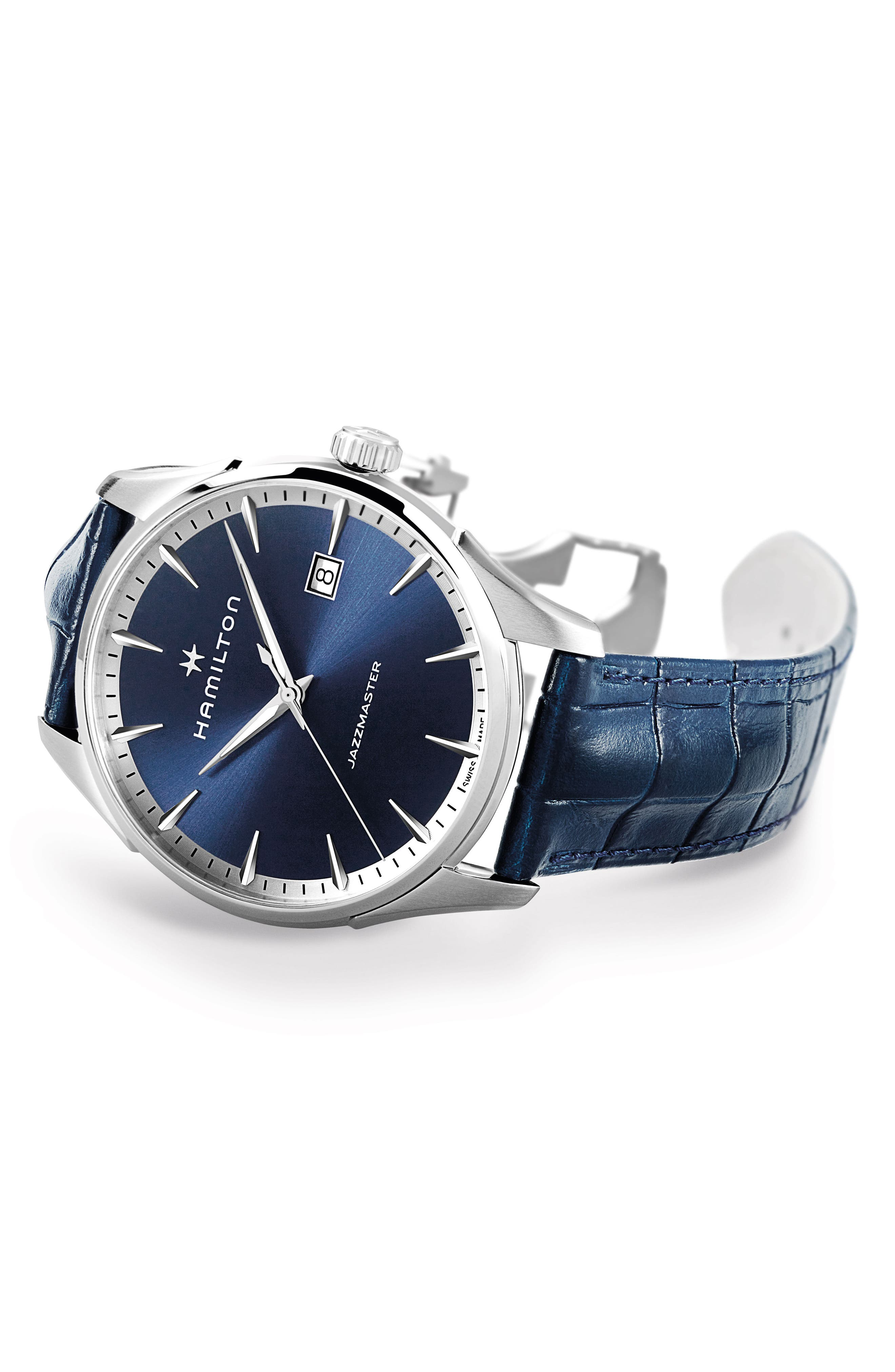Jazzmaster Gent Leather Strap Watch, 40mm,                             Alternate thumbnail 2, color,                             BLUE/ SILVER
