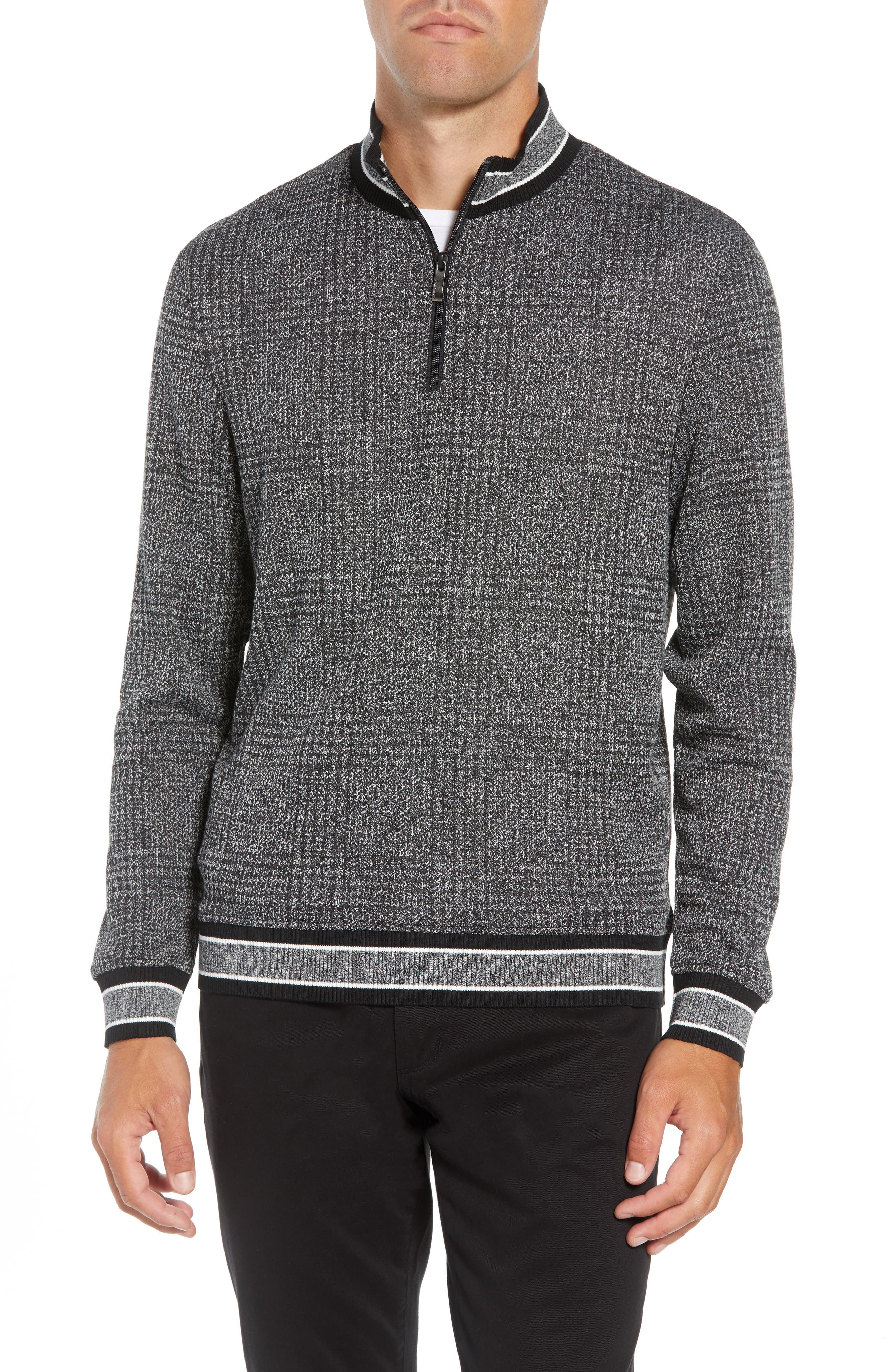 Slim Fit Quarter Zip Pullover,                         Main,                         color, BLACK