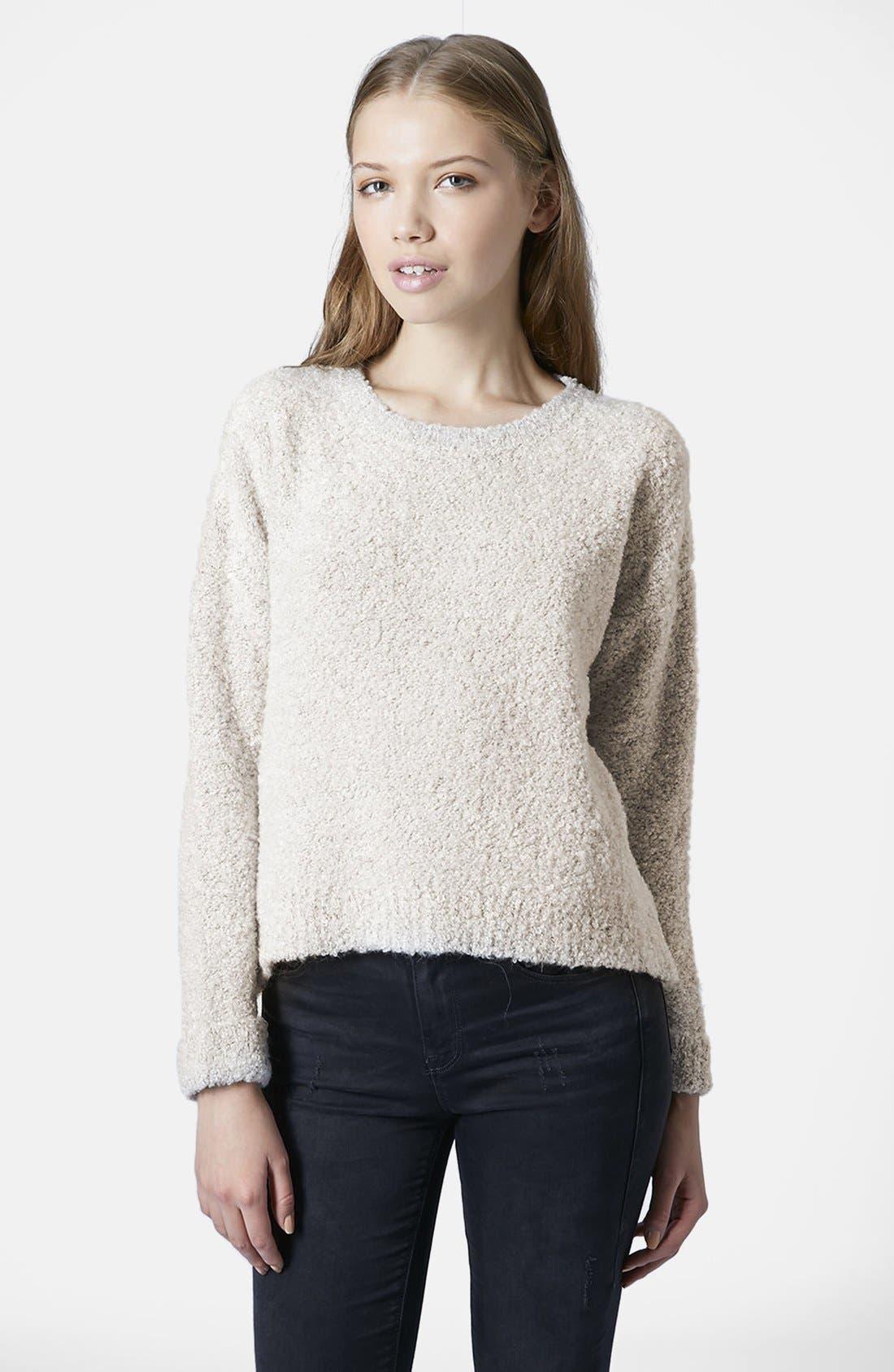 TOPSHOP,                             Bouclé Knit Sweater,                             Main thumbnail 1, color,                             100