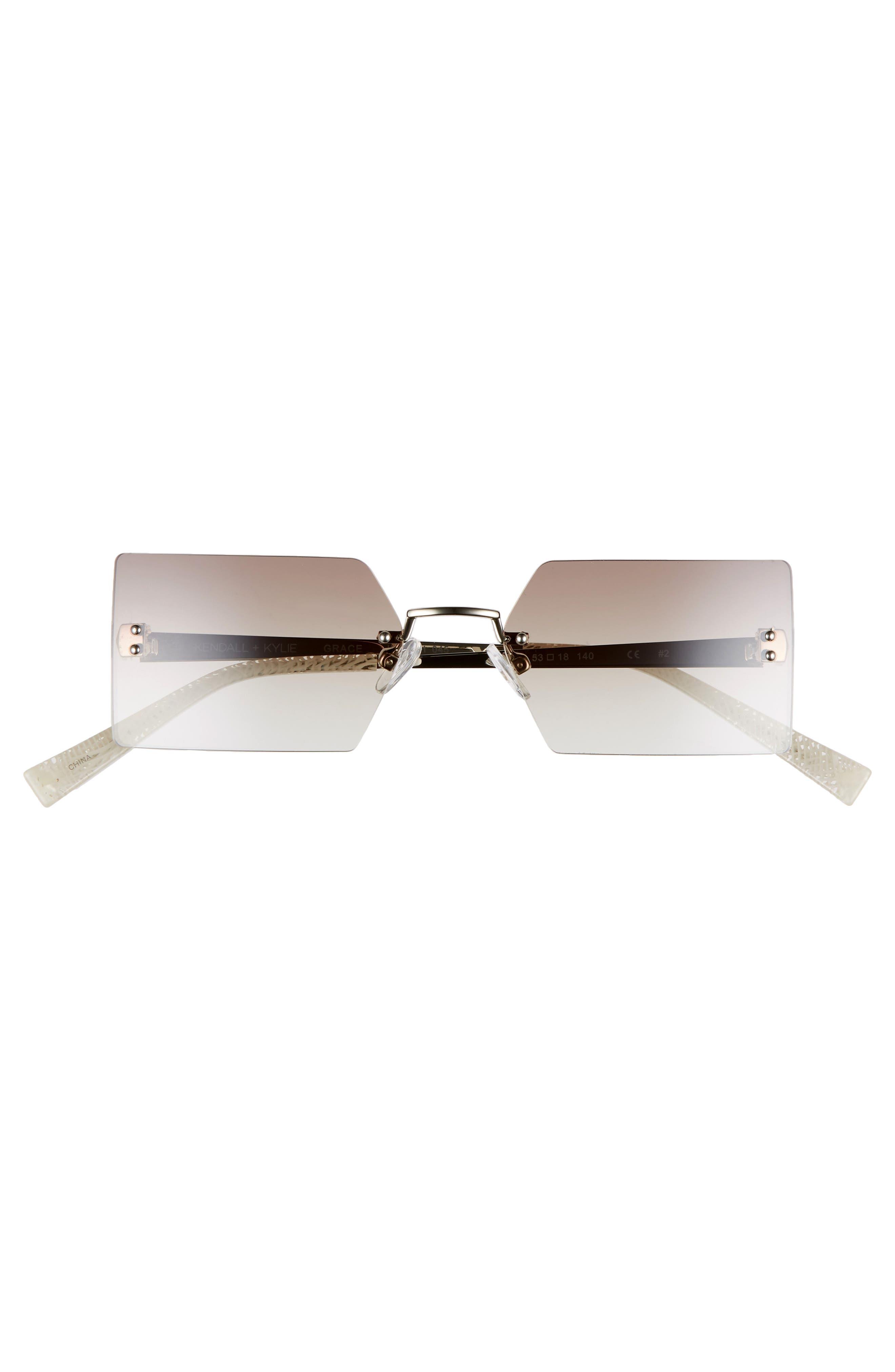 Grace 53mm Rimless Rectangular Sunglasses,                             Alternate thumbnail 3, color,                             SILVER/ BROWN/ CLEAR GRADIENT