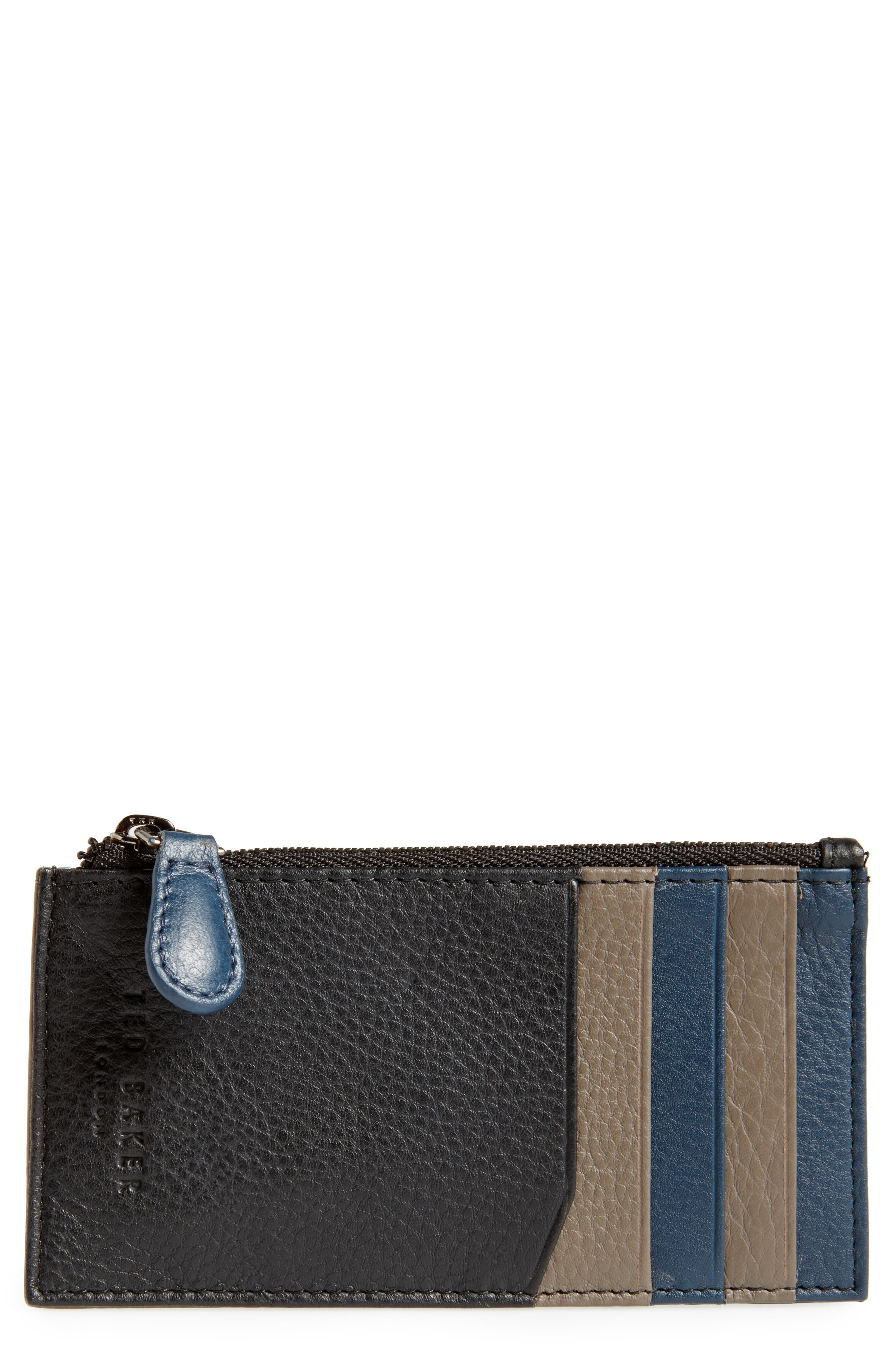 Jammee Leather Coin Pouch,                             Main thumbnail 1, color,                             001
