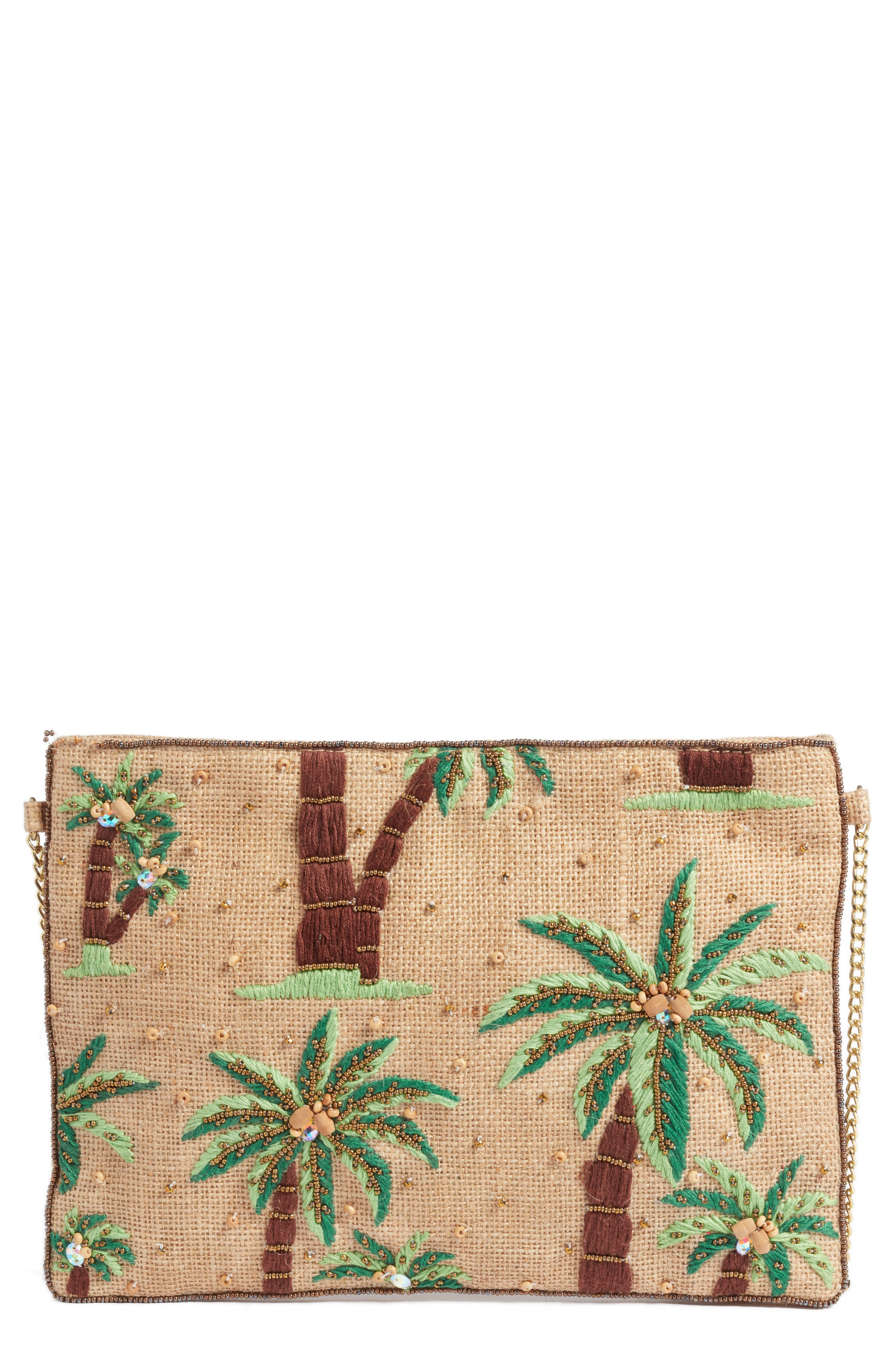 AREA STARS Embroidered Palm Tree Crossbody Bag - Pink in Natural