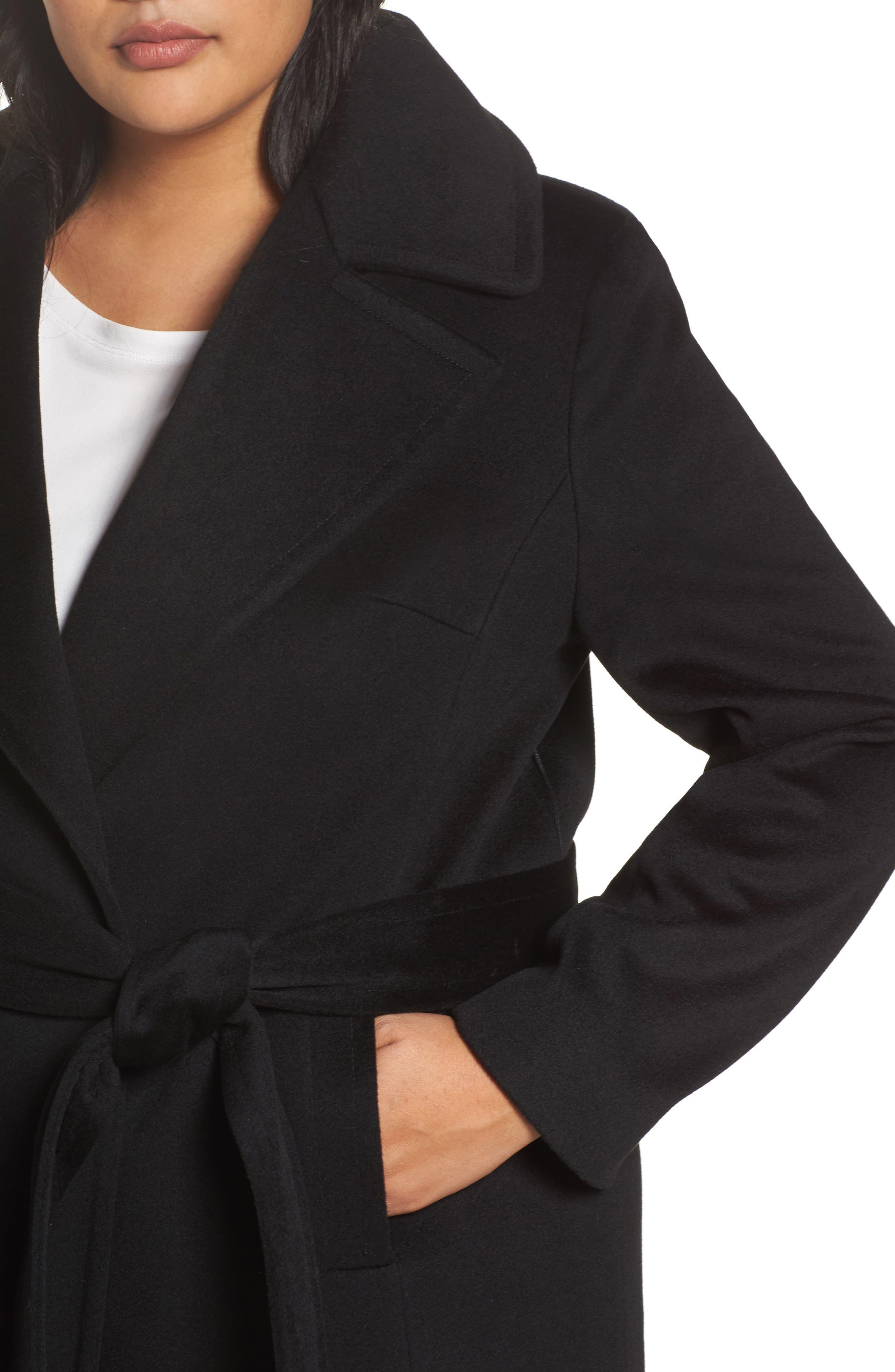Wool Wrap Coat,                             Alternate thumbnail 4, color,                             001
