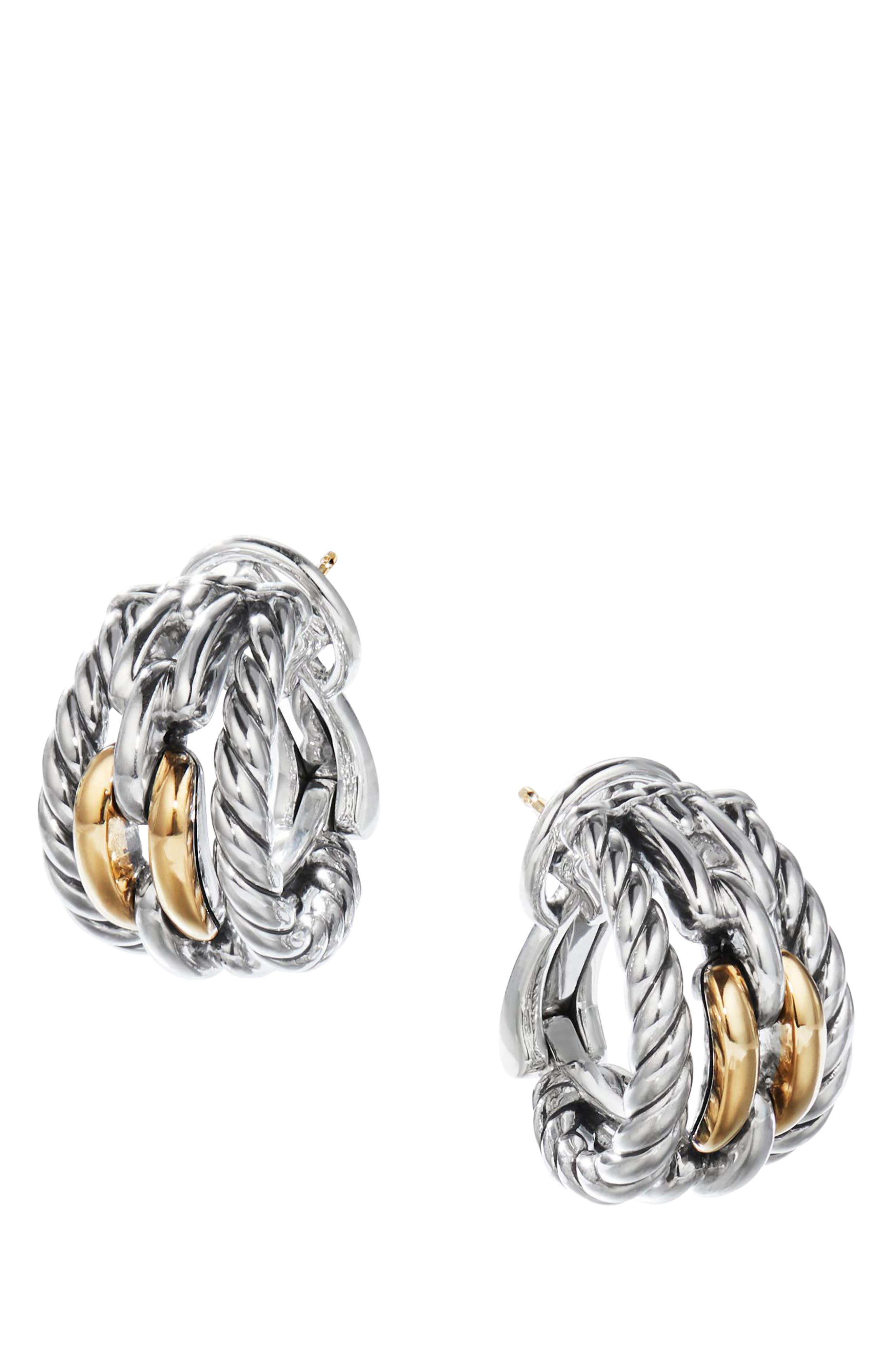 Wellesley Link Hoop Earrings with 18K Gold,                             Main thumbnail 1, color,                             18K YELLOW GOLD/ SILVER