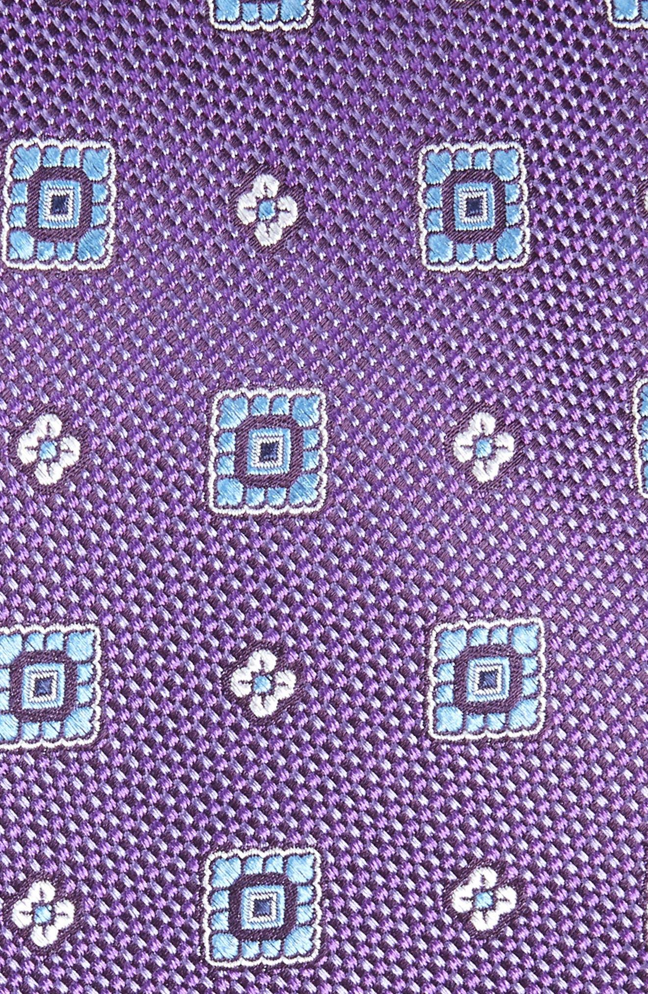 Foxtrot Medallion Silk Tie,                             Alternate thumbnail 2, color,                             EGGPLANT