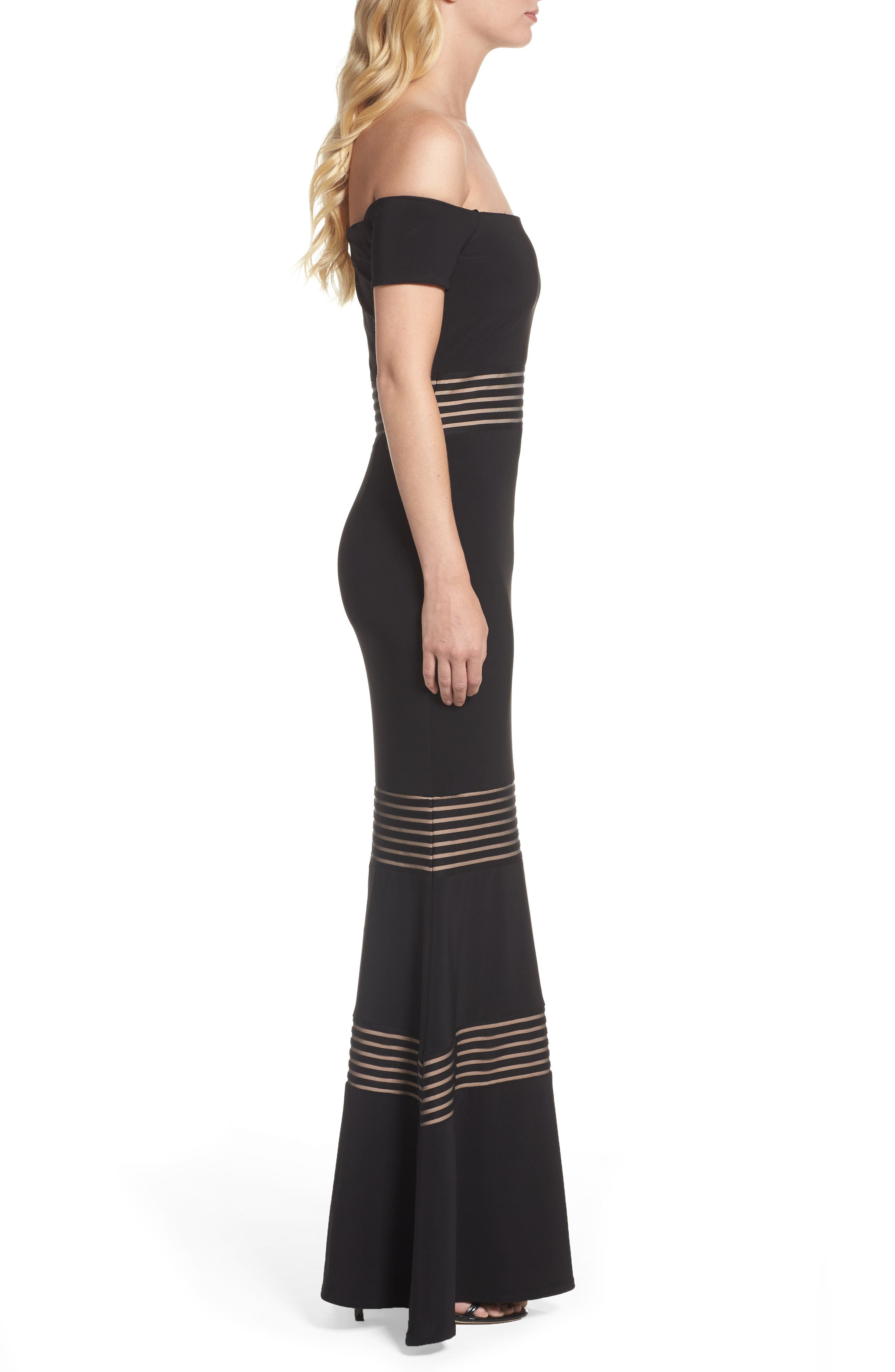 Inset Off the Shoulder Mermaid Gown,                             Alternate thumbnail 3, color,                             009