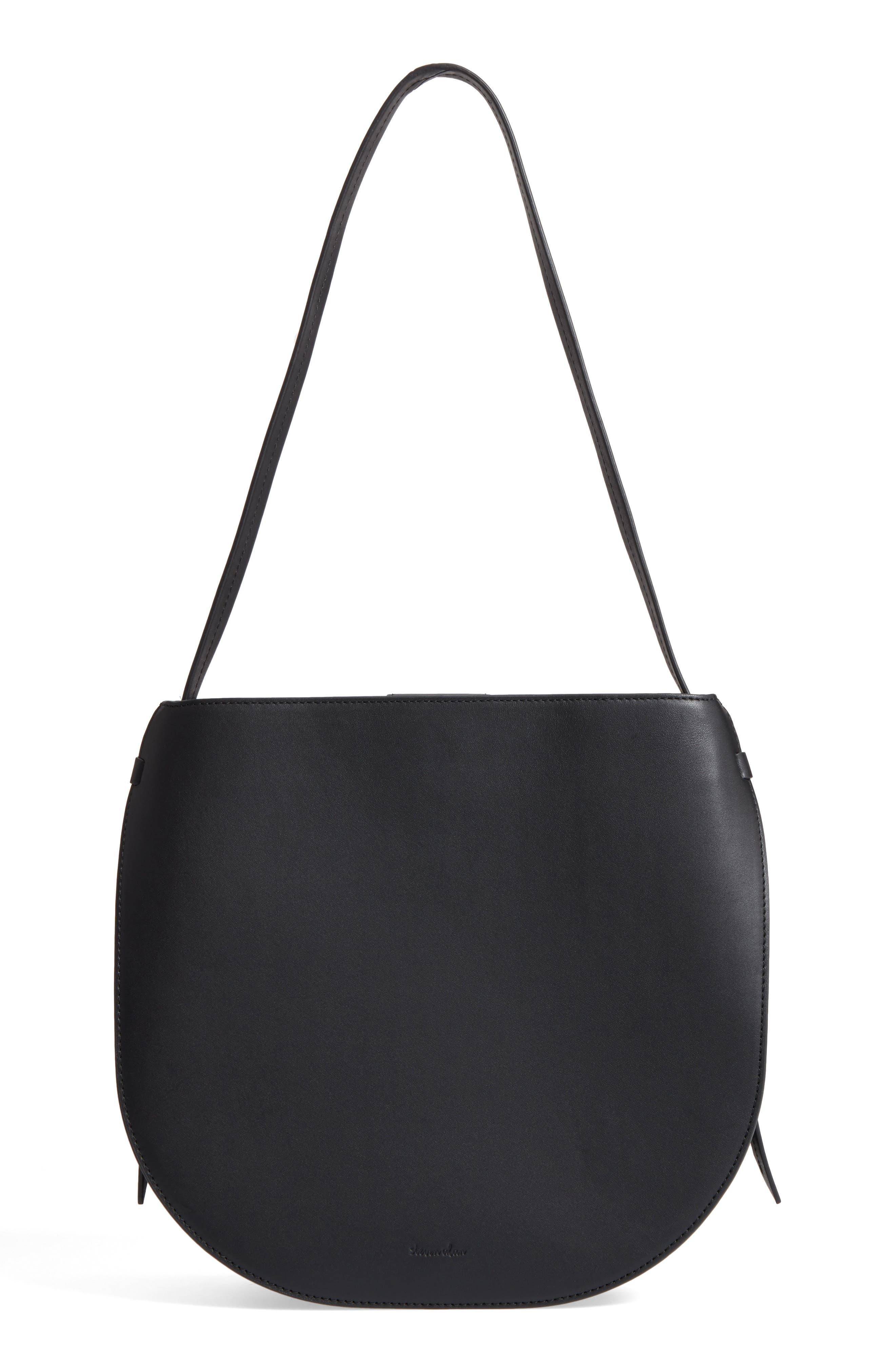 Helena Half Moon Leather Shoulder Bag,                             Alternate thumbnail 3, color,                             001
