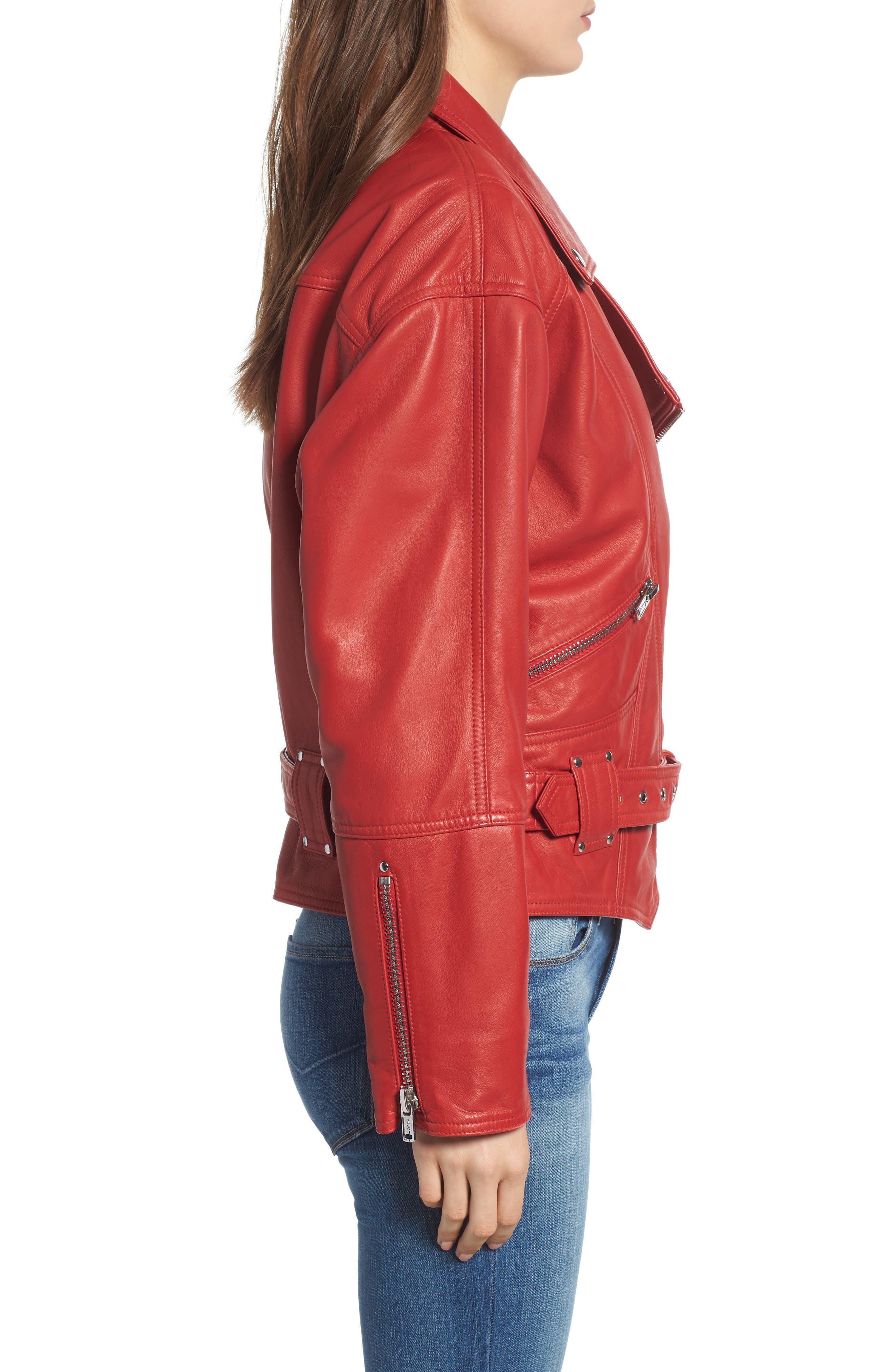 Leather Jacket,                             Alternate thumbnail 3, color,                             RIOT