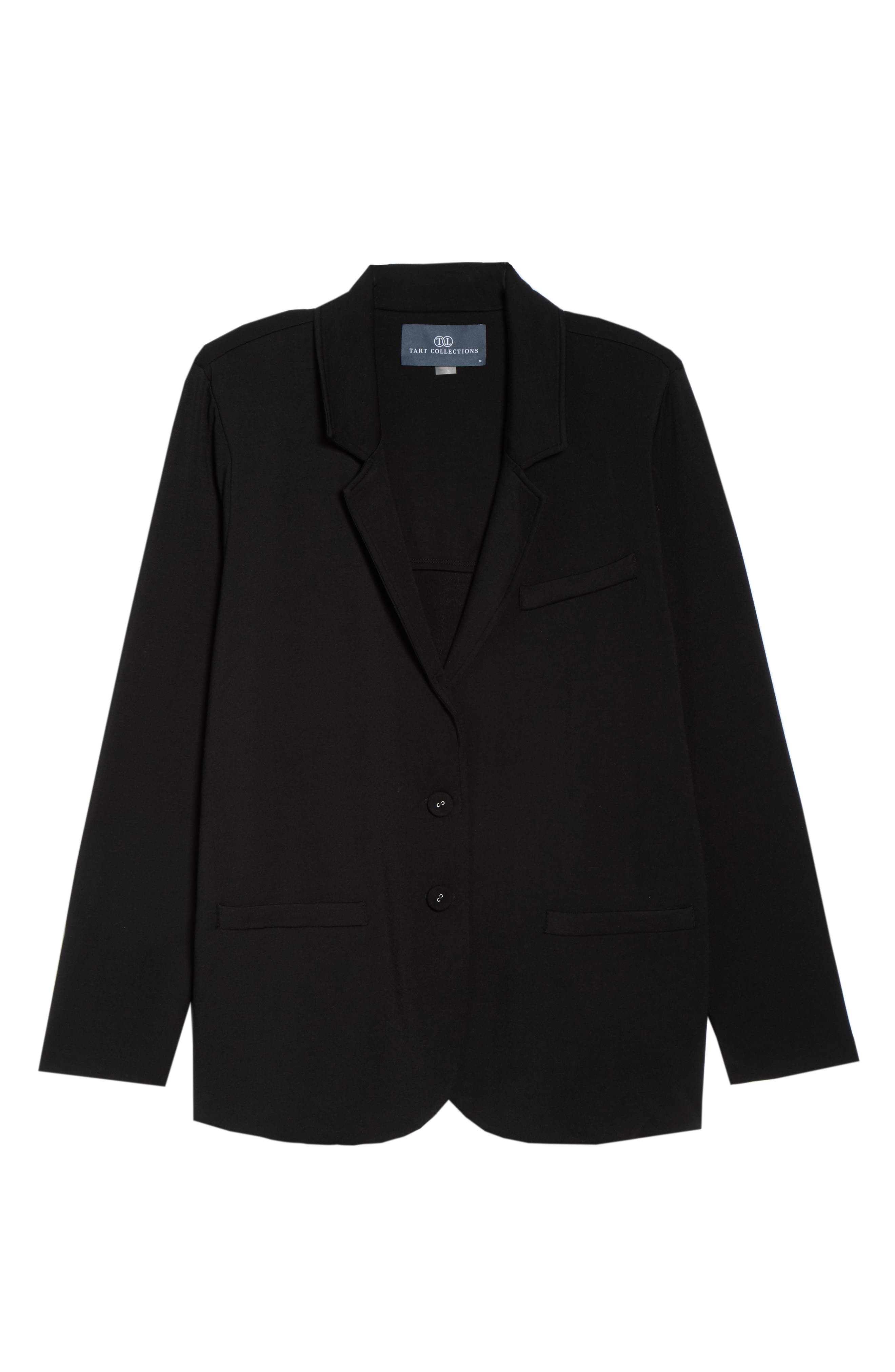 Knit Blazer,                             Alternate thumbnail 6, color,                             001