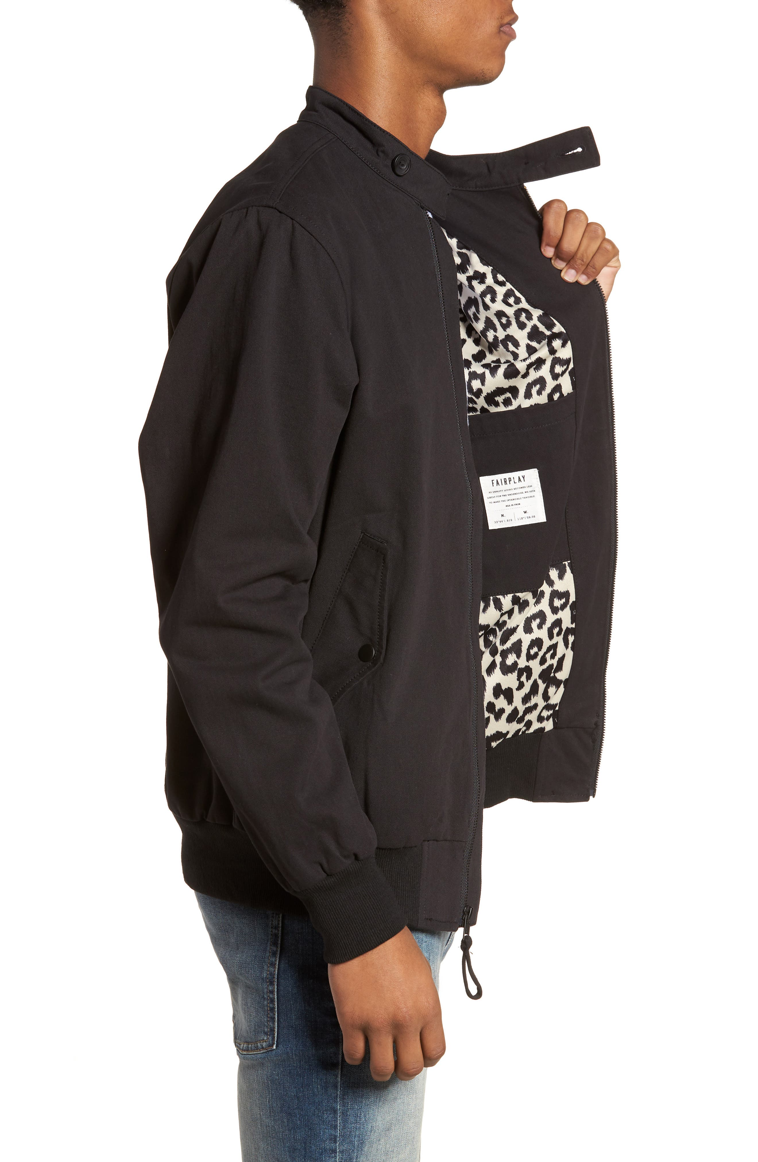 Dotson Twill Bomber Jacket,                             Alternate thumbnail 3, color,                             001
