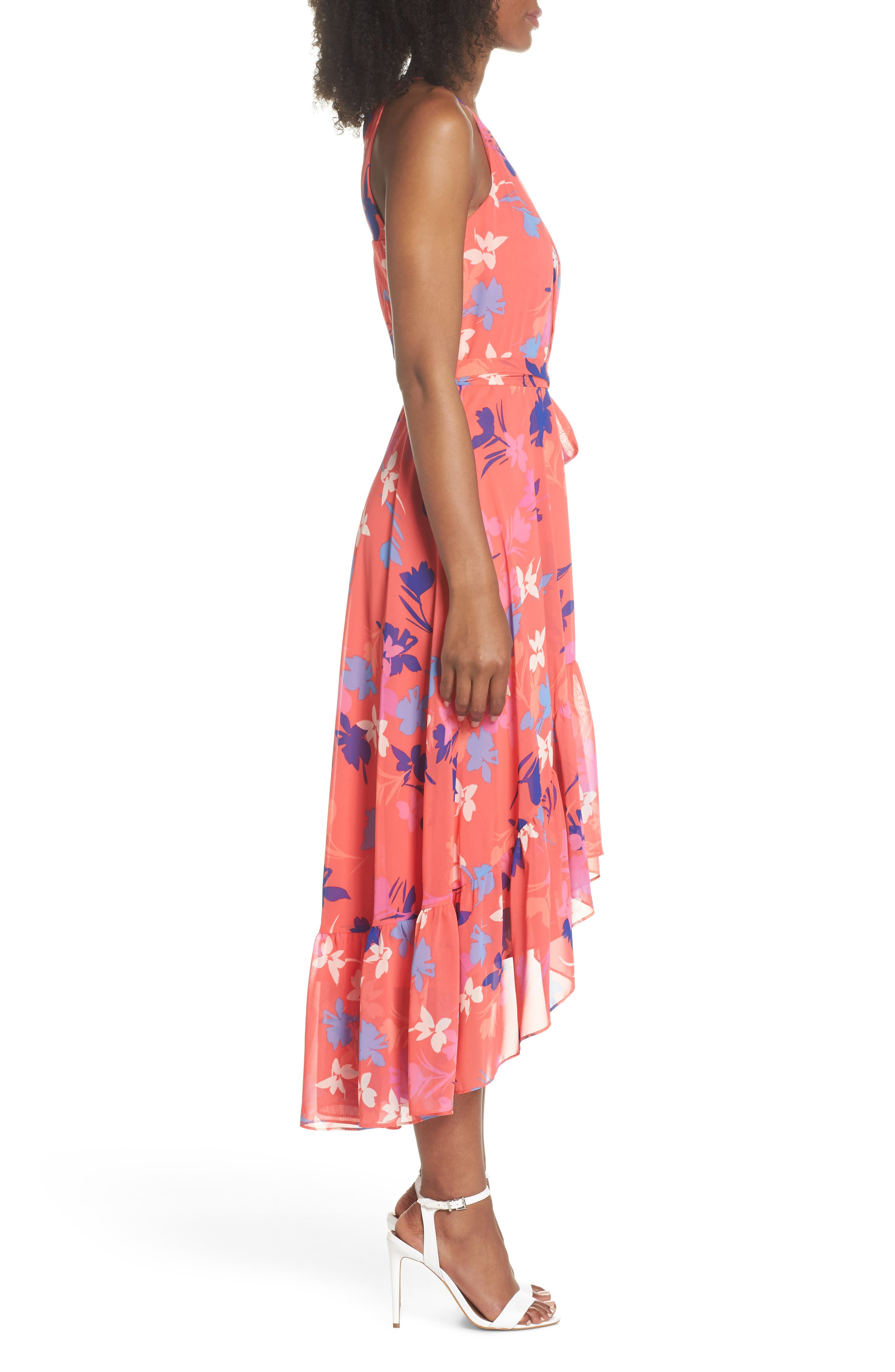 Floral High/Low Chiffon Halter Dress,                             Alternate thumbnail 3, color,                             653