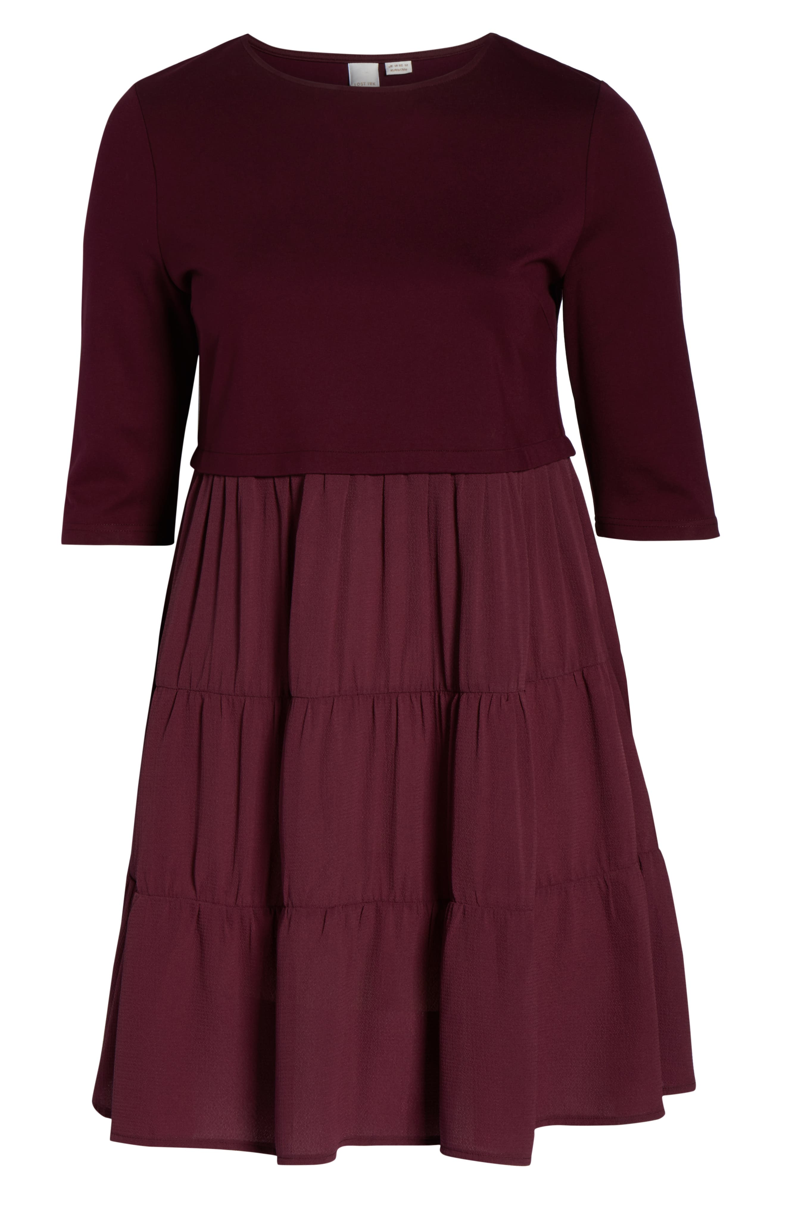 Mixed Media Ruffle Detail Swing Dress,                             Alternate thumbnail 7, color,                             BURGUNDY