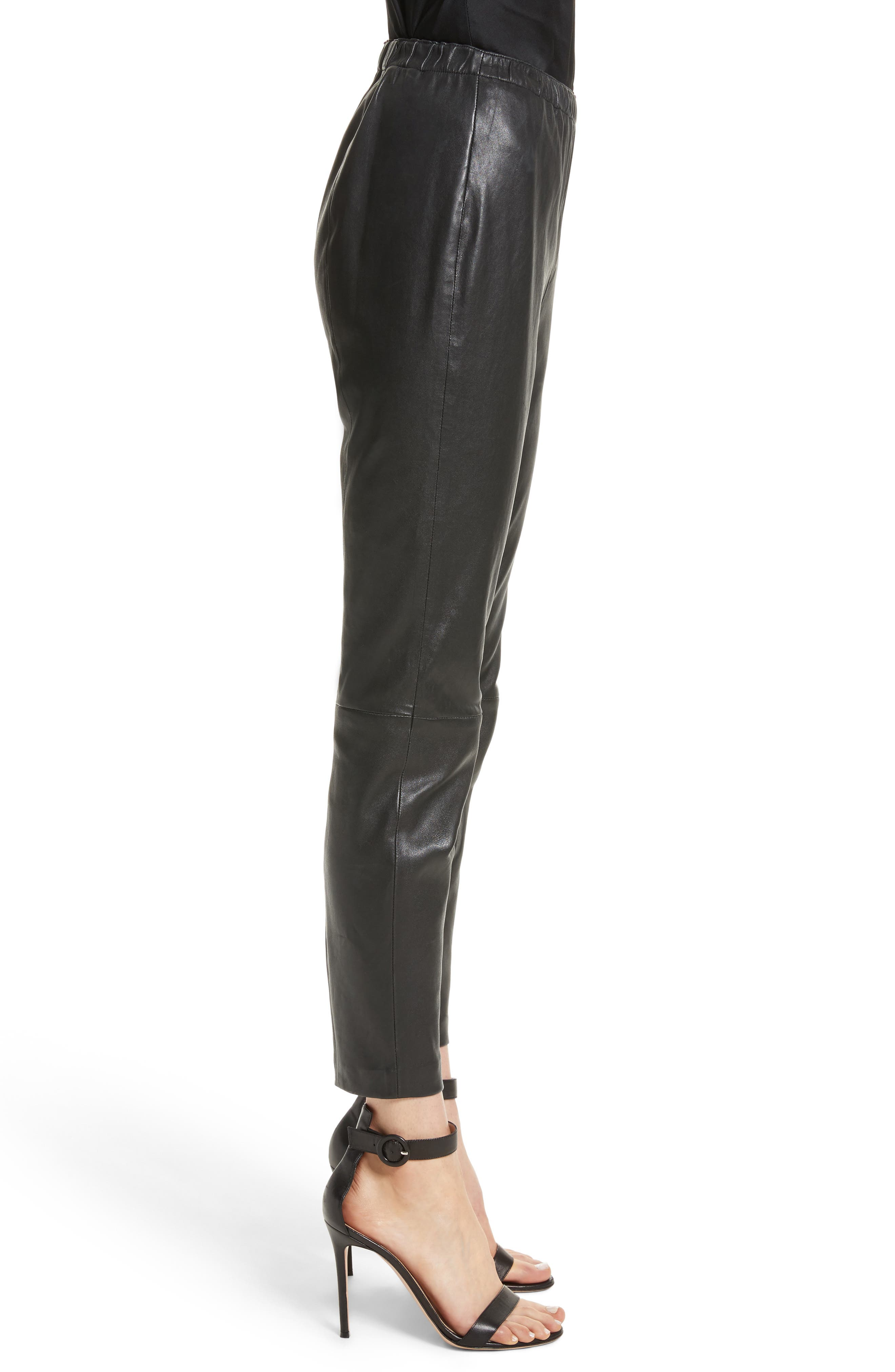 Stretch Nappa Leather Crop Pants,                             Alternate thumbnail 3, color,                             CAVIAR