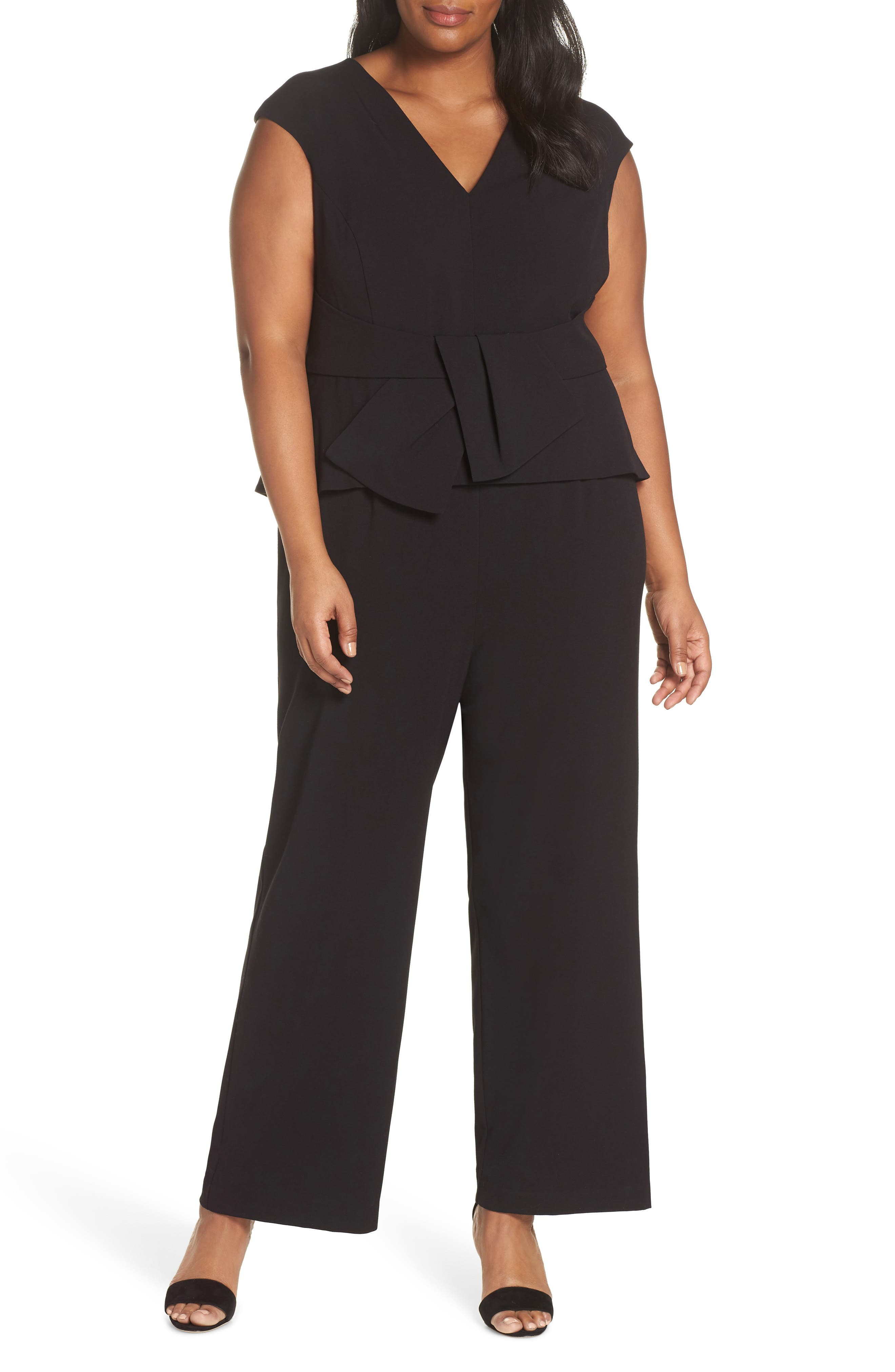 Stretch Peplum Waist Jumpsuit,                             Main thumbnail 1, color,                             BLACK