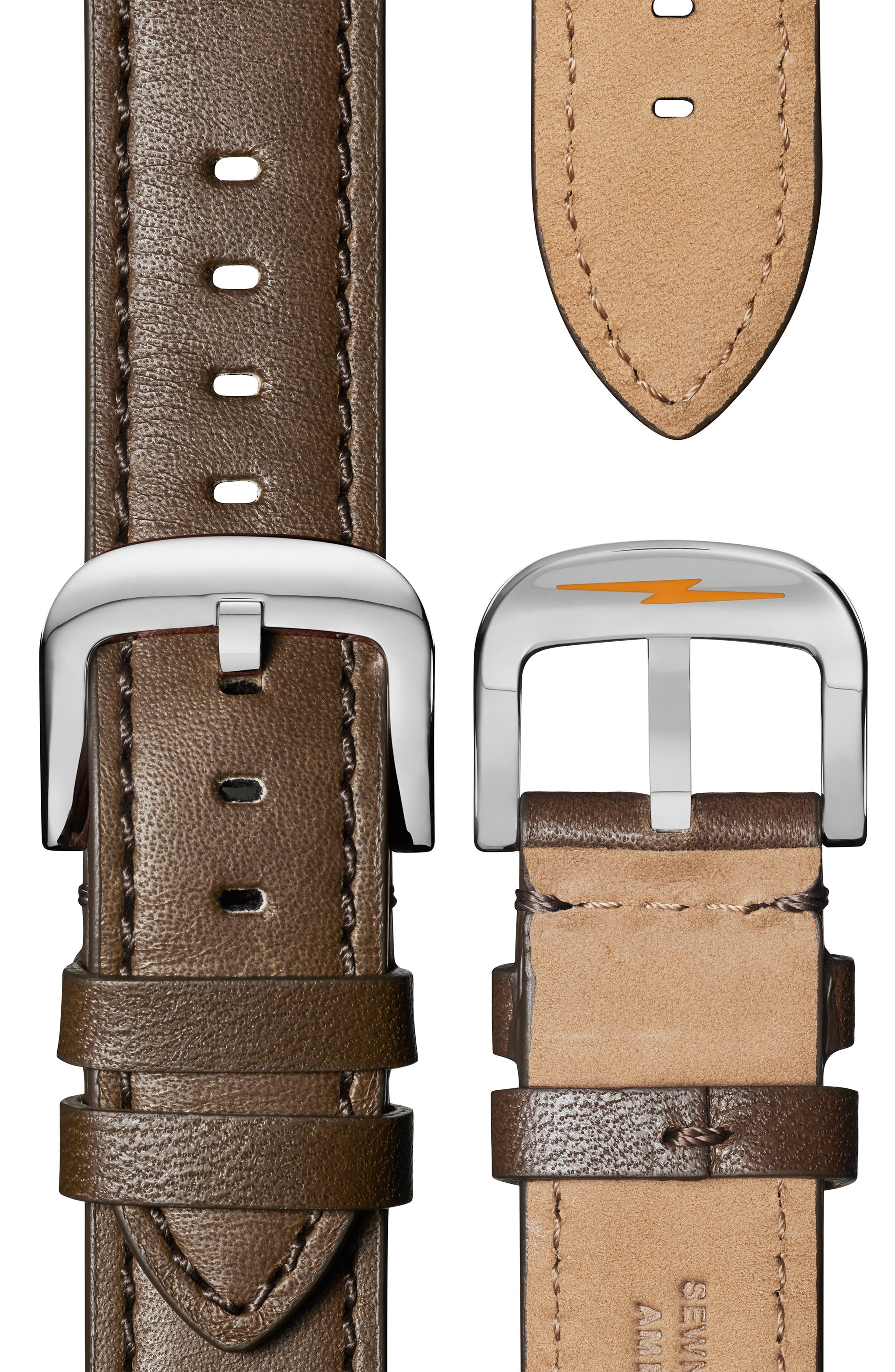 The Canfield Leather Strap Watch, 45mm,                             Alternate thumbnail 4, color,                             DK BROWN/ALBSTER WHT/SILV